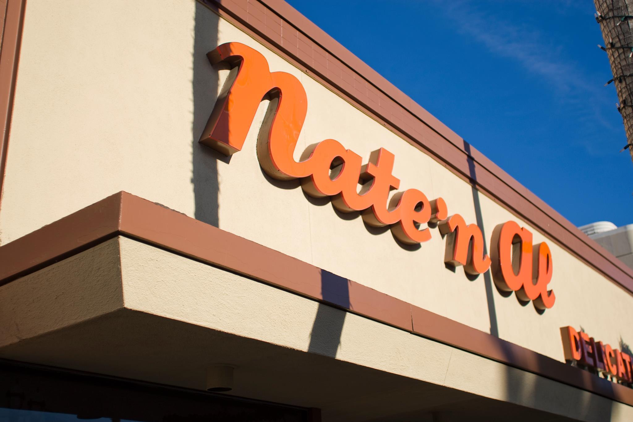 Nate N' Al Delicatessen signage in the sunlight.