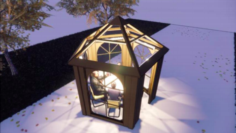 A computer rendering of a five-sided glass enclosure that looks like a hut with a dining table inside.