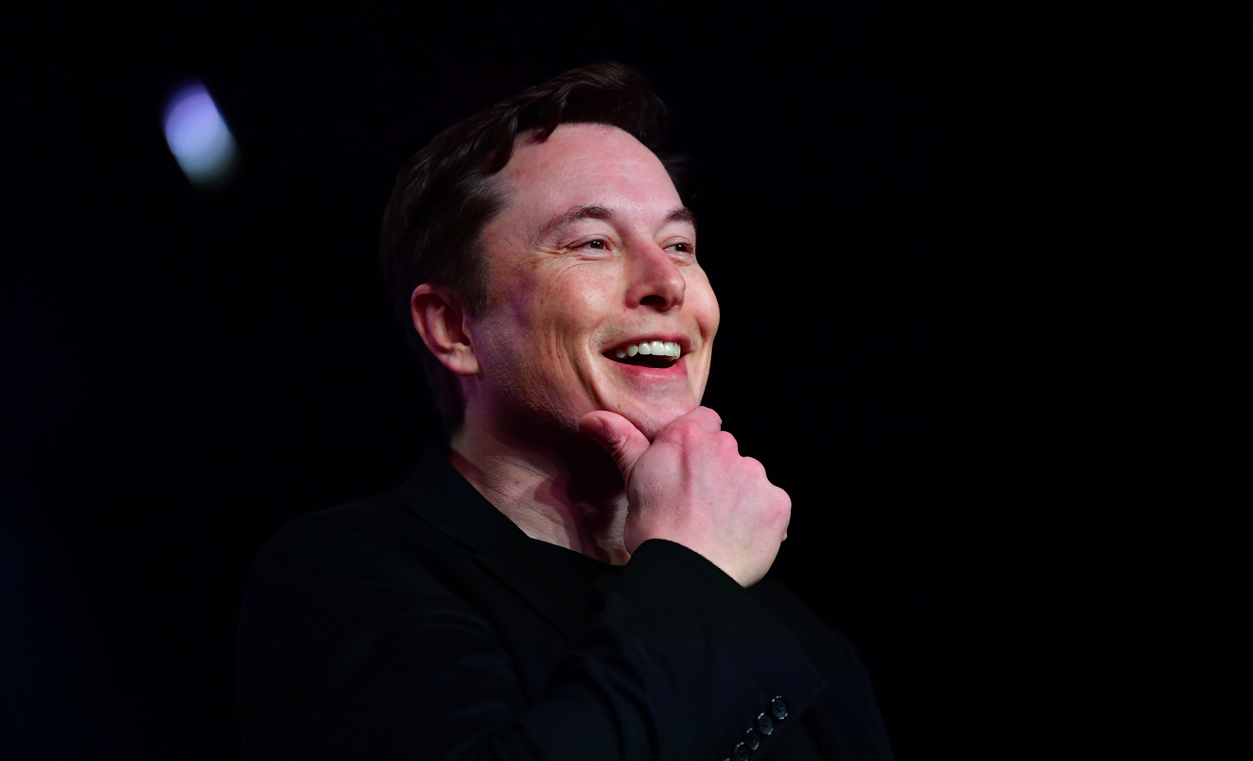 Elon Musk speaks during the unveiling of the new Tesla Model Y in Hawthorne, California on March 14, 2019.