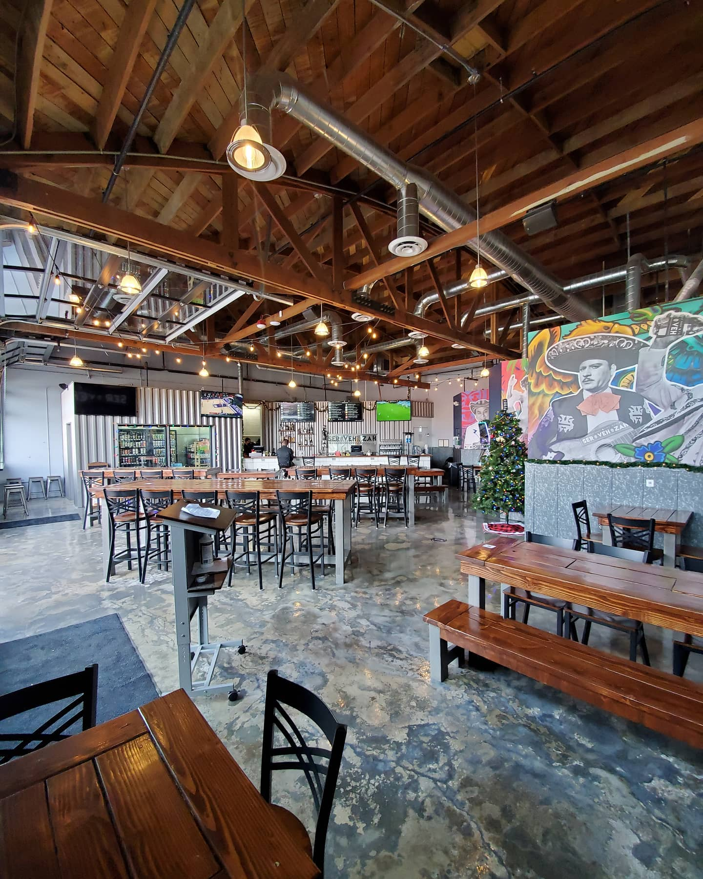 The interior of a taproom