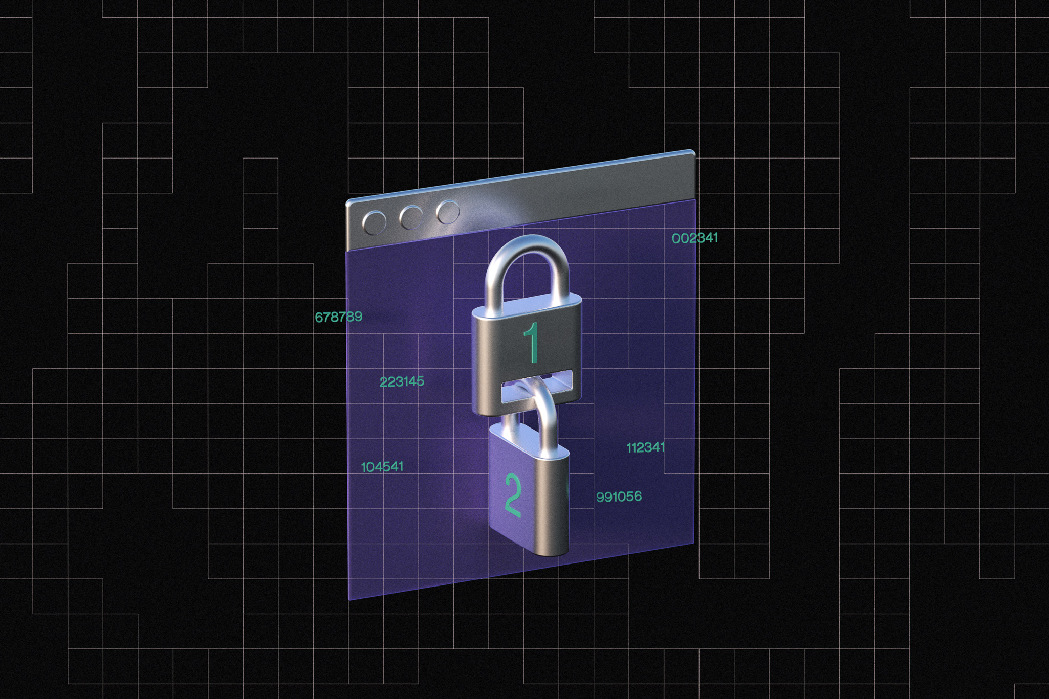 An illustration of two locks, one locked into the other, over an internet browser window. The top lock has the number one imprinted one it, the bottom lock has the number two imprinted.