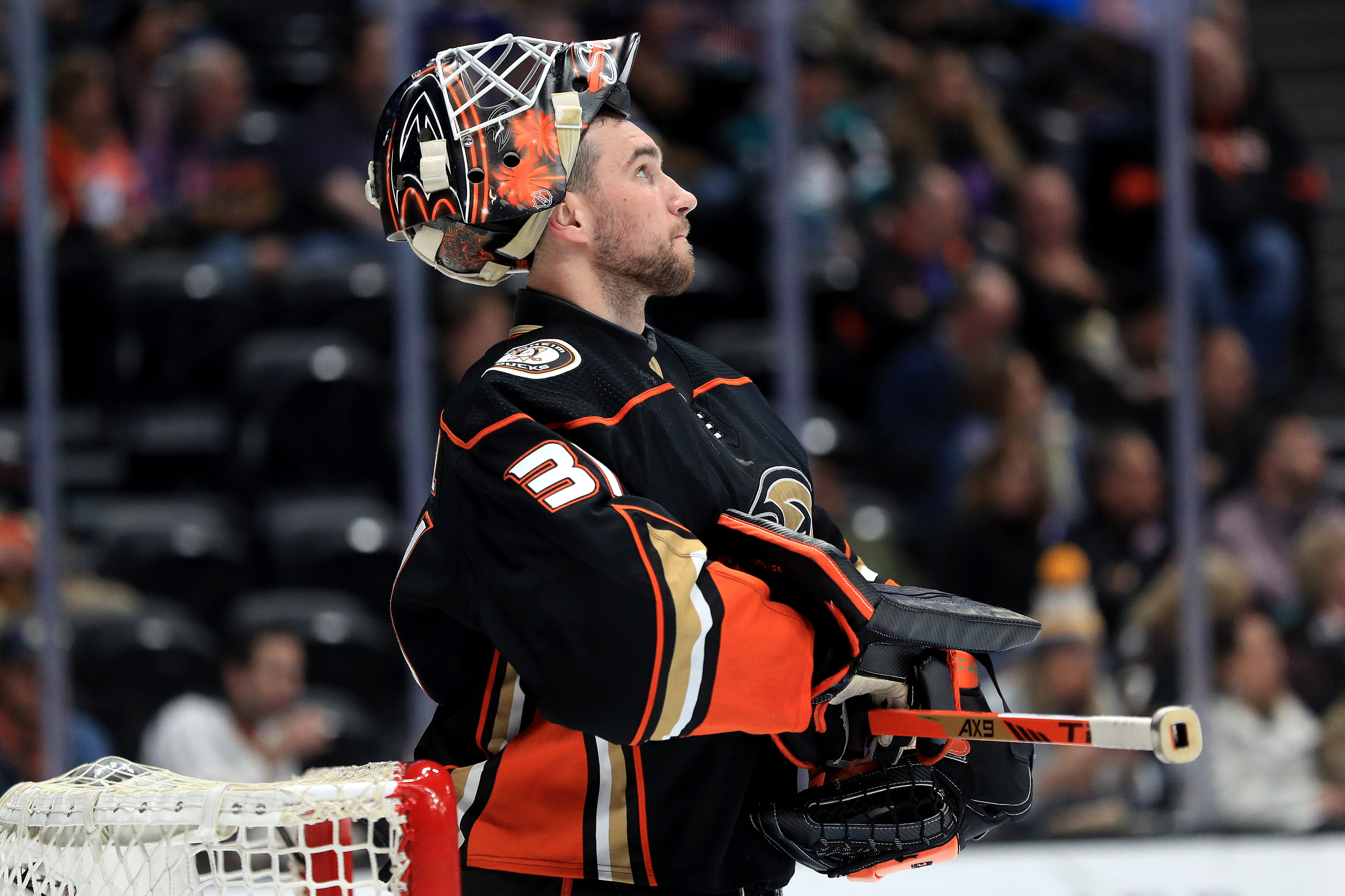 Anthony Stolarz #31 of the Anaheim Ducks blocks looks on during the second period of a game against the St. Louis Blues at Honda Center on March 11, 2020 in Anaheim, California.