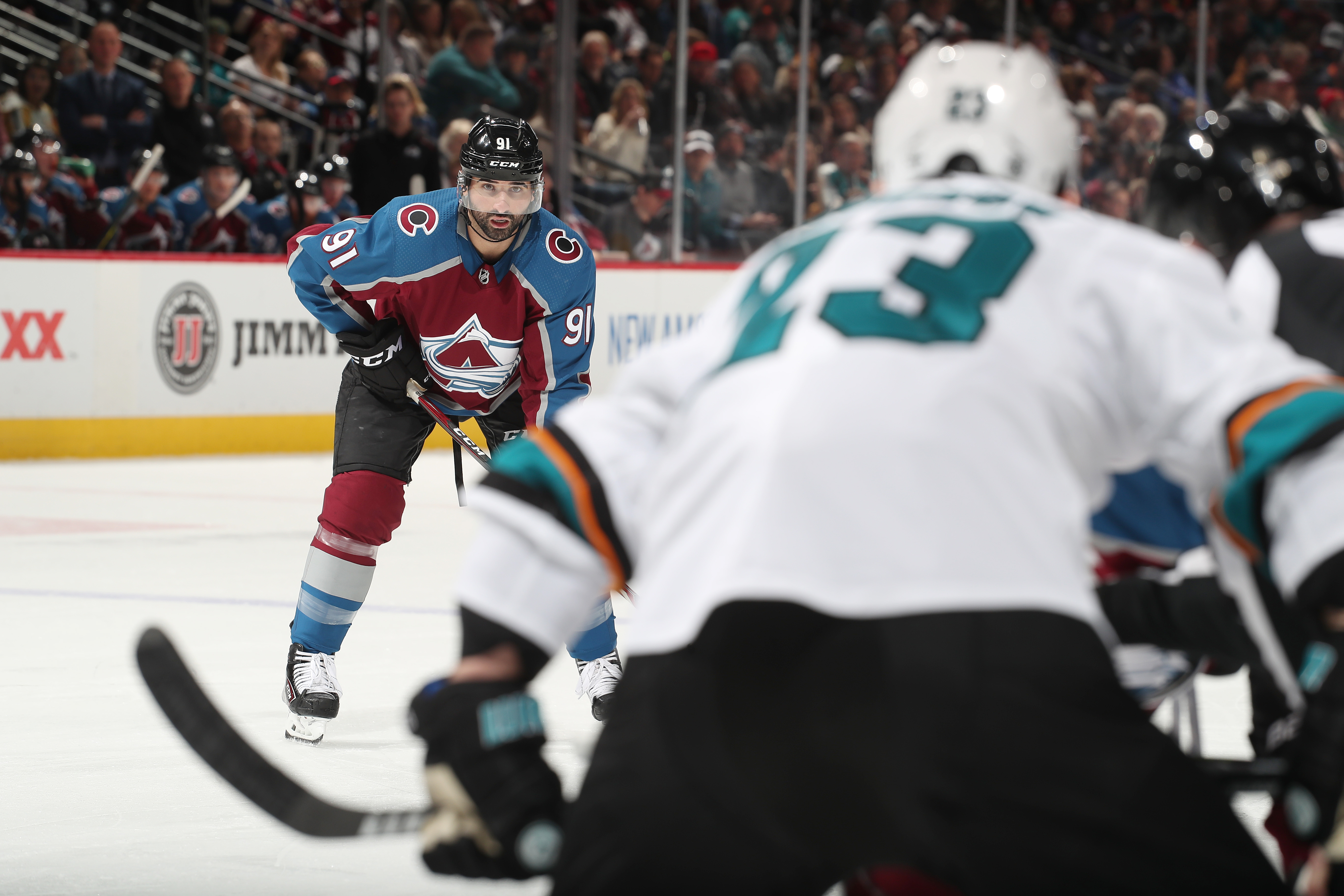 Nazem Kadri #91 of the Colorado Avalanche looks on against the San Jose Sharks at Pepsi Center on January 16, 2020 in Denver, Colorado.