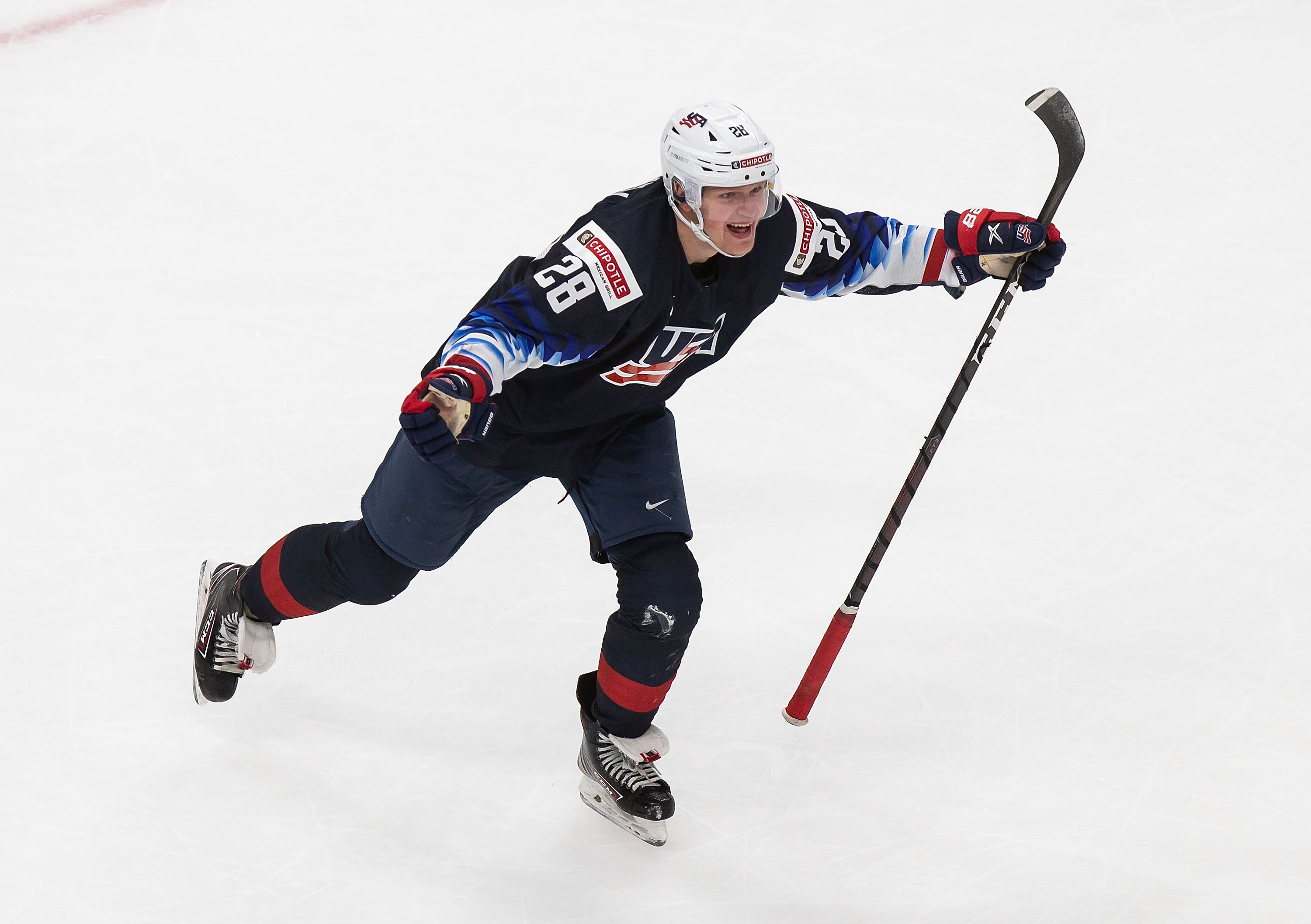 Arthur Kaliyev #28 of the United States celebrates the game-winning goal against Finland during the 2021 IIHF World Junior Championship semifinals at Rogers Place on January 4, 2021 in Edmonton, Canada.