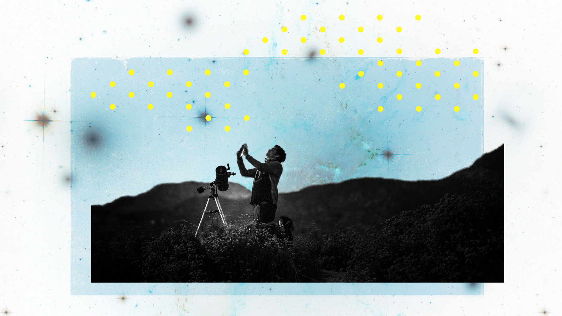 Photo illustration of a person kneeling on a hillside and using a telescope on a tripod.