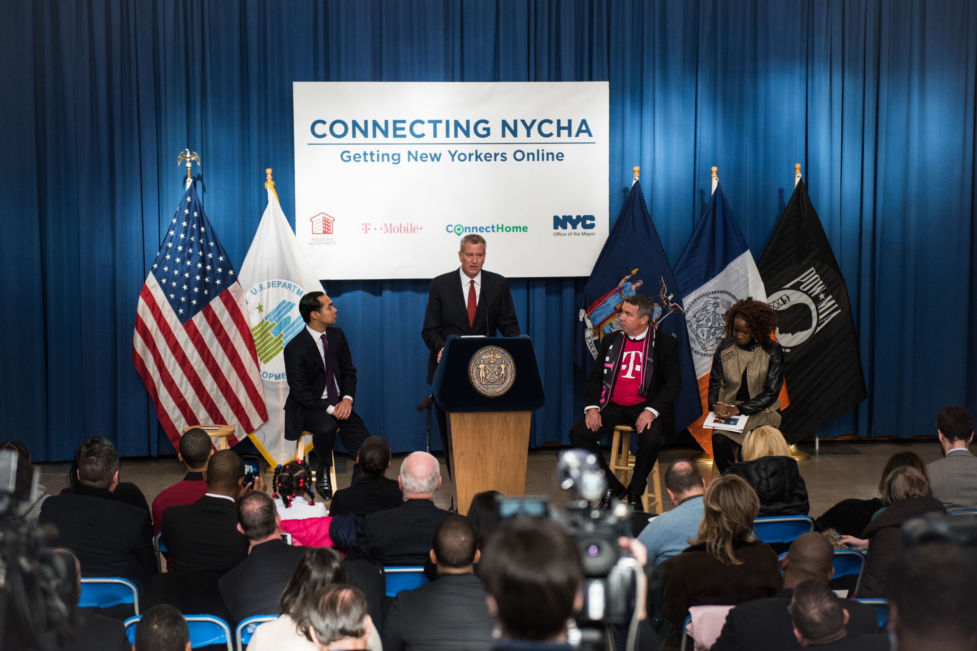 Mayor Bill de Blasio announced in 2016 increased internet access for Bronx NYCHA residents.