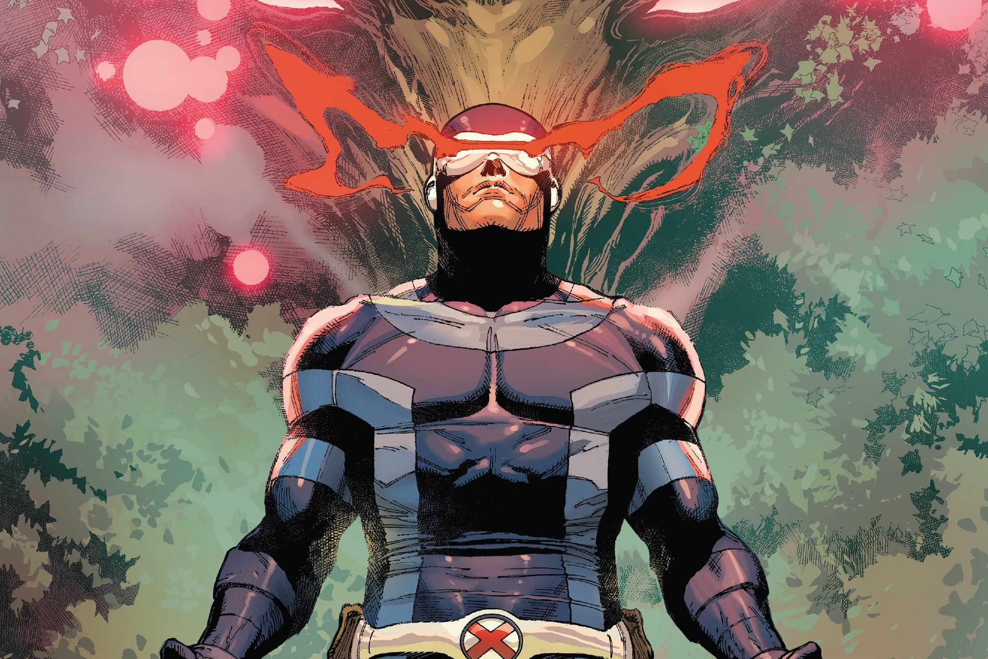 Eyes ablaze, Cyclops strikes a heroic pose on the cover of X-Men #16, Marvel Comics (2021).