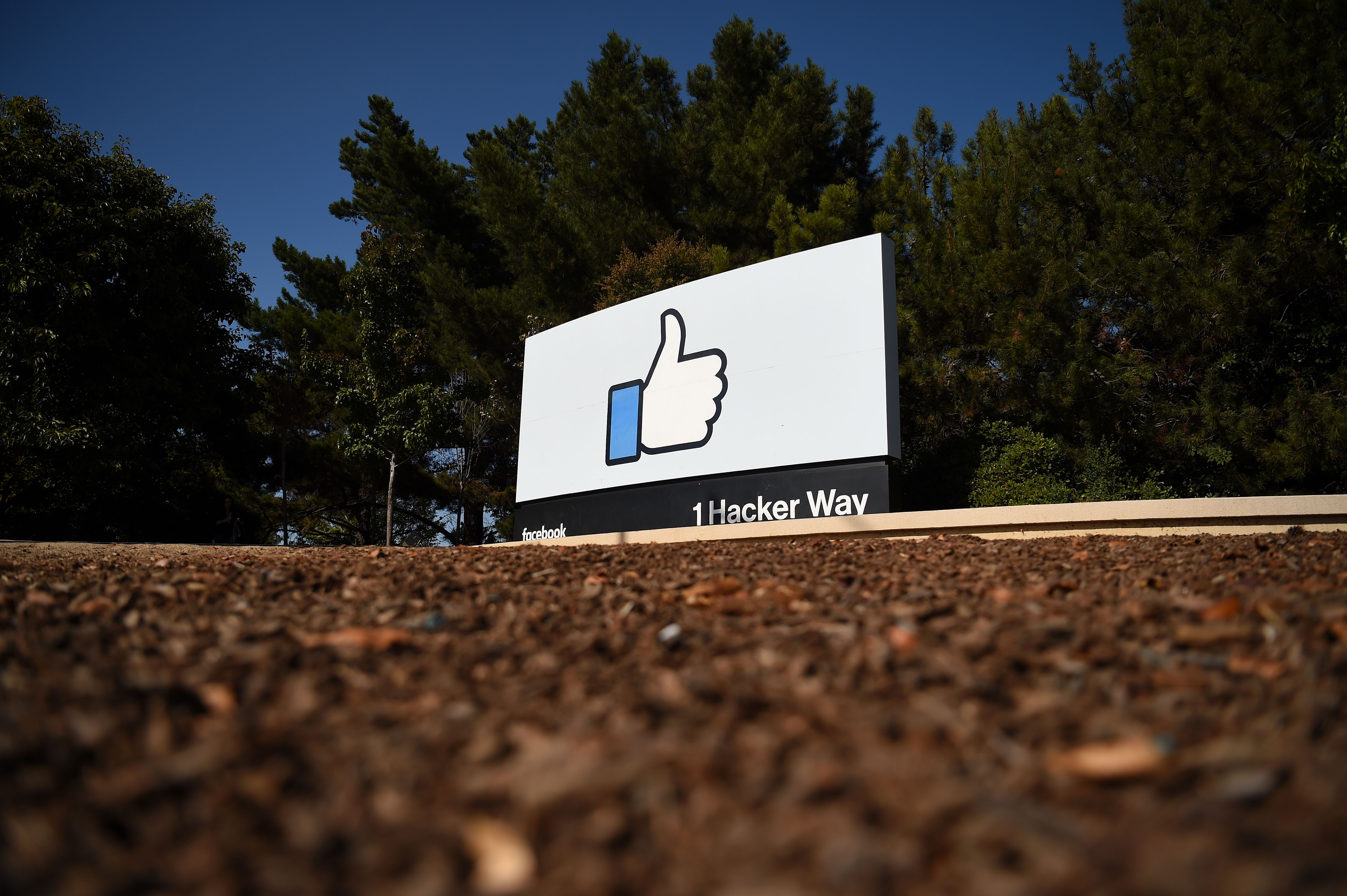 "The Facebook ""like"" sign is seen at Facebook's corporate headquarters campus in Menlo Park, California."