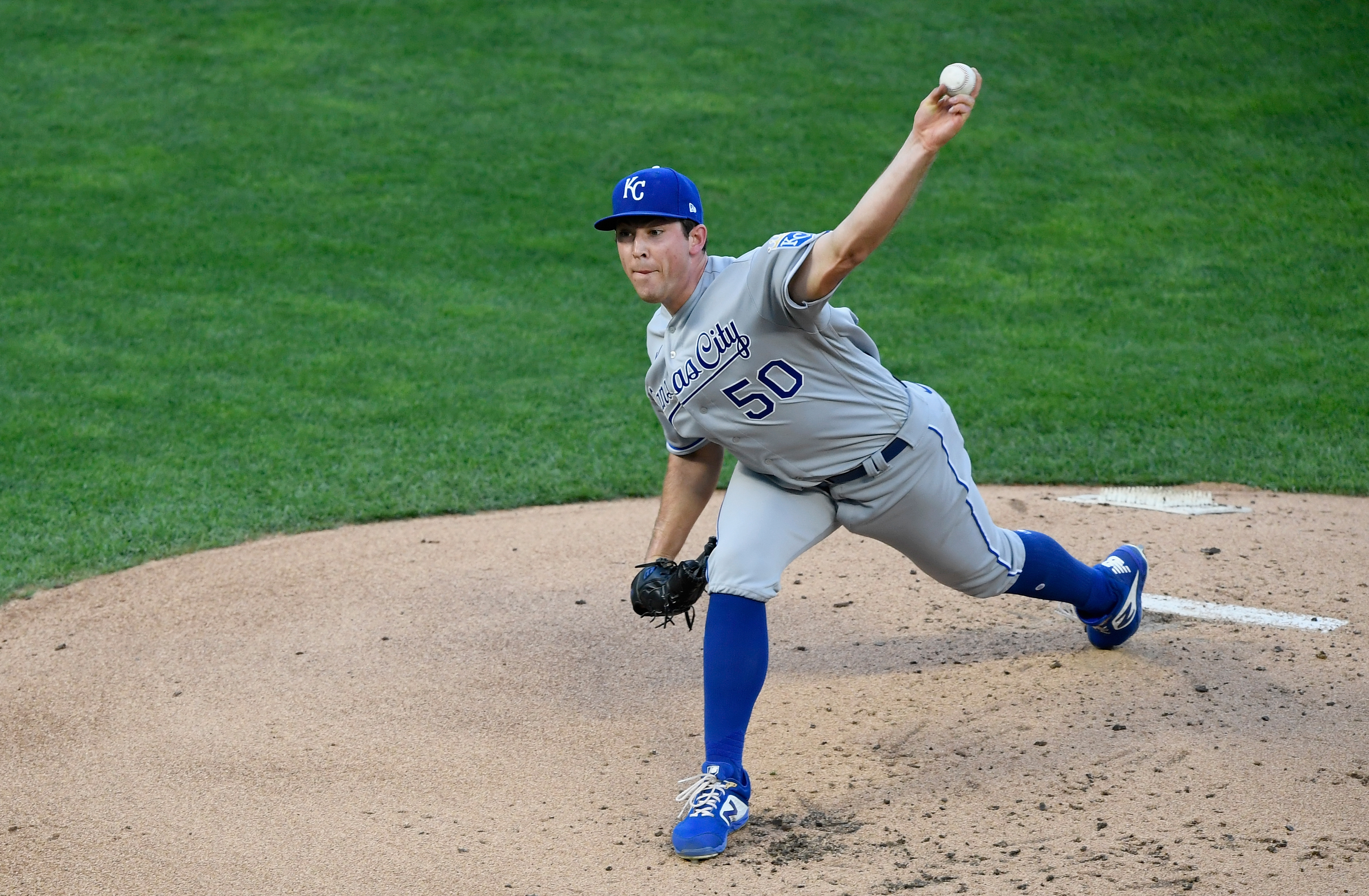 Kris Bubic #50 of the Kansas City Royals delivers a pitch against the Minnesota Twins during the first inning of the game at Target Field on August 17, 2020 in Minneapolis, Minnesota.