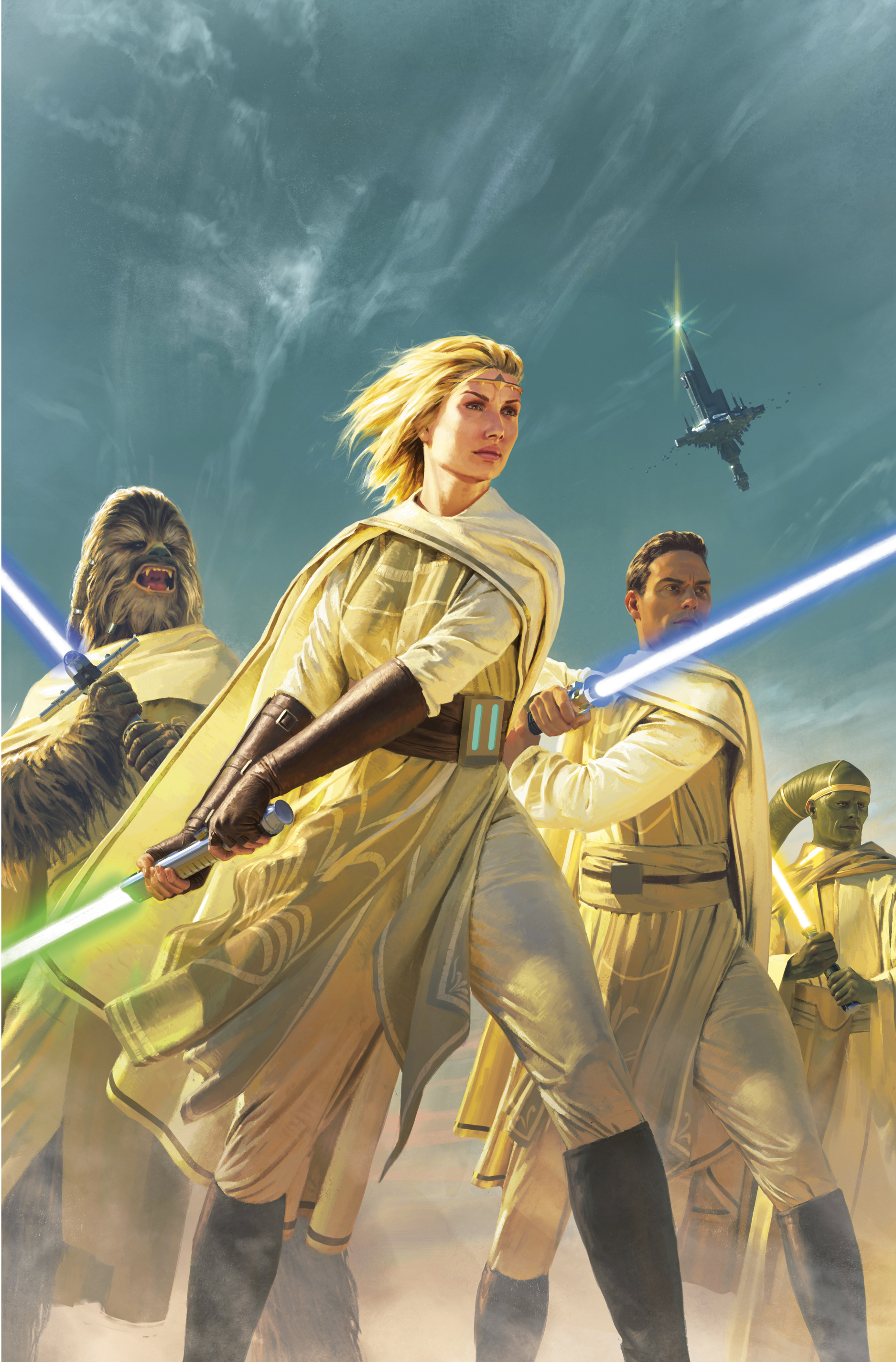 Light of the Jedi cover featuring Avar Kriss with green lightsaber