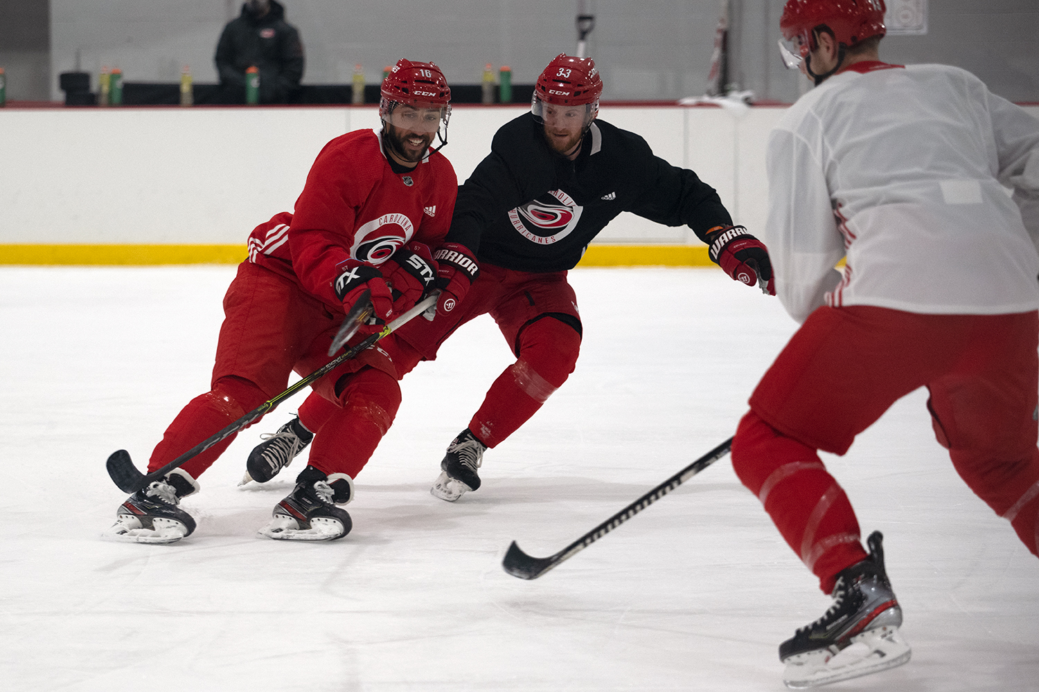Vincent Trocheck and Joakim Ryan vie for the puck during day three of training camp at Wake Competition Center, Jan. 6, 2021.