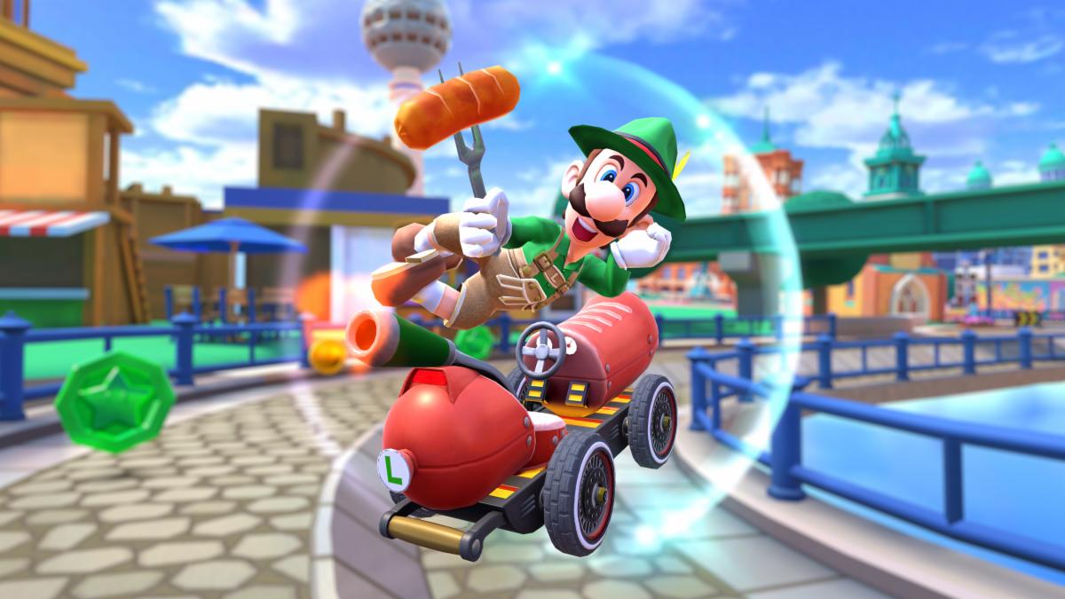 Luigi riding a hot dog