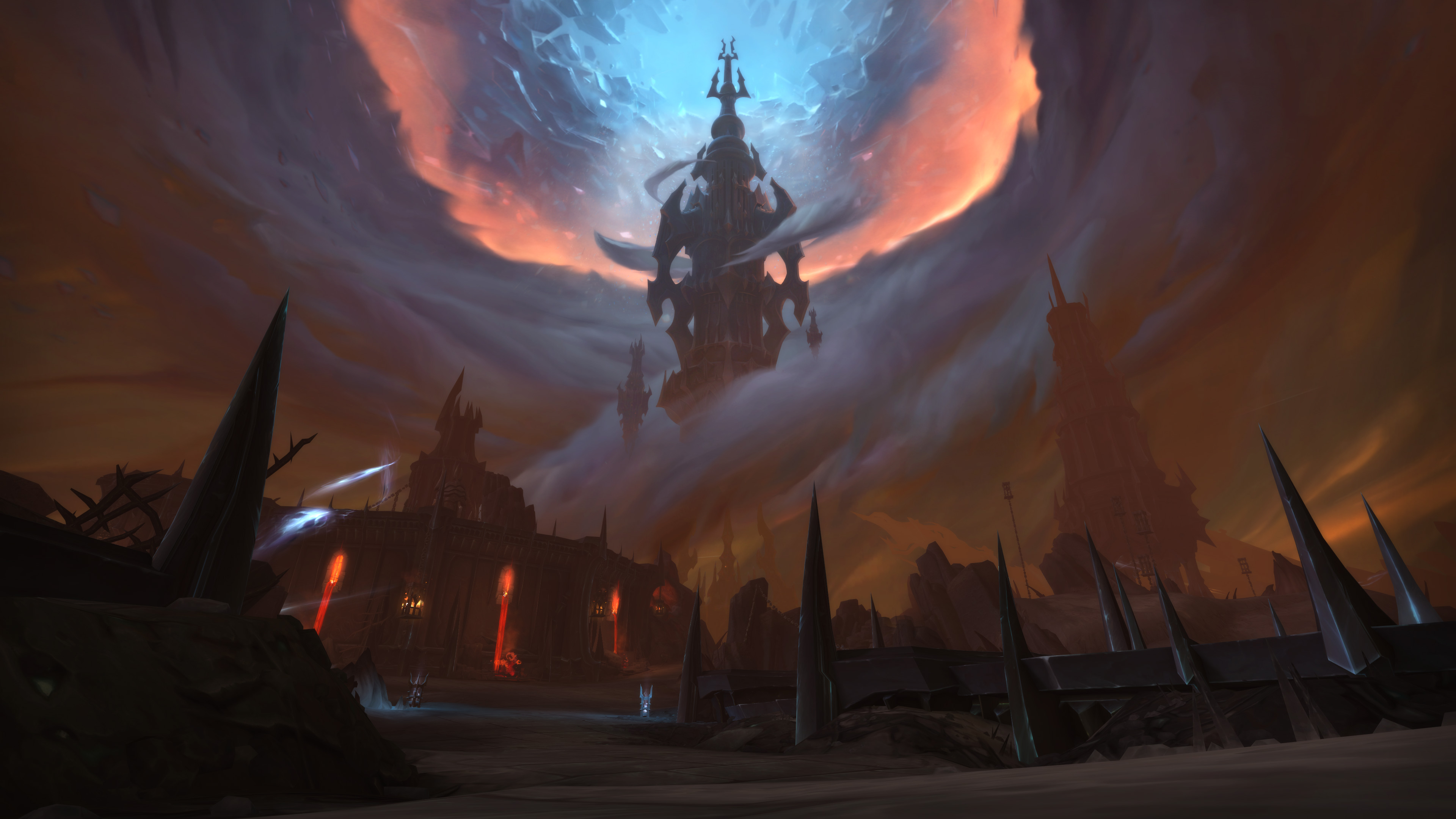 World of Warcraft: Shadowlands - A shot of Torghast in the Maw, which is a tall metal tower in an arid wasteland of smoke and dust.