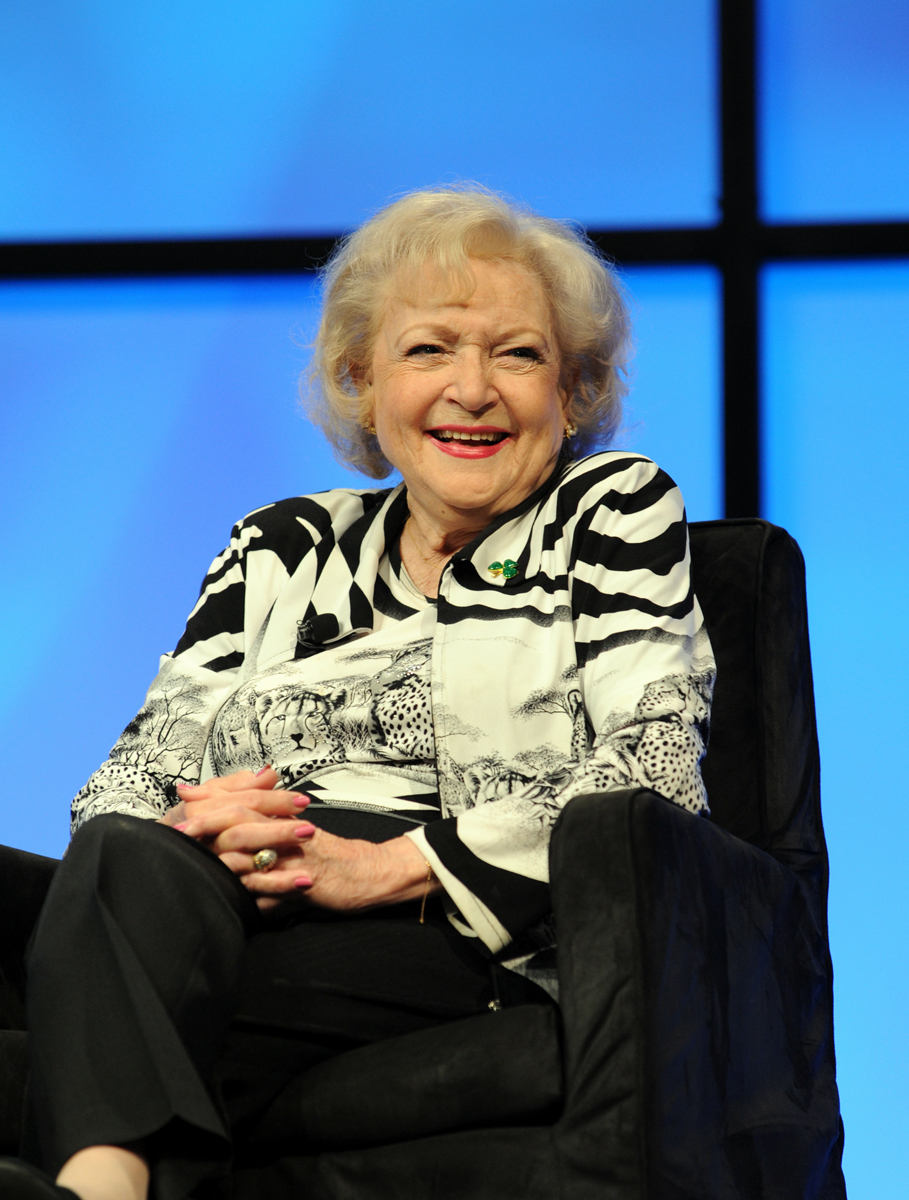 Actress Betty White is inducted into the NAB Broadcasting Hall of Fame during the National Association of Broadcasters Show in Las Vegas on Tuesday, April 17, 2012. White turns 99 on Jan. 17.