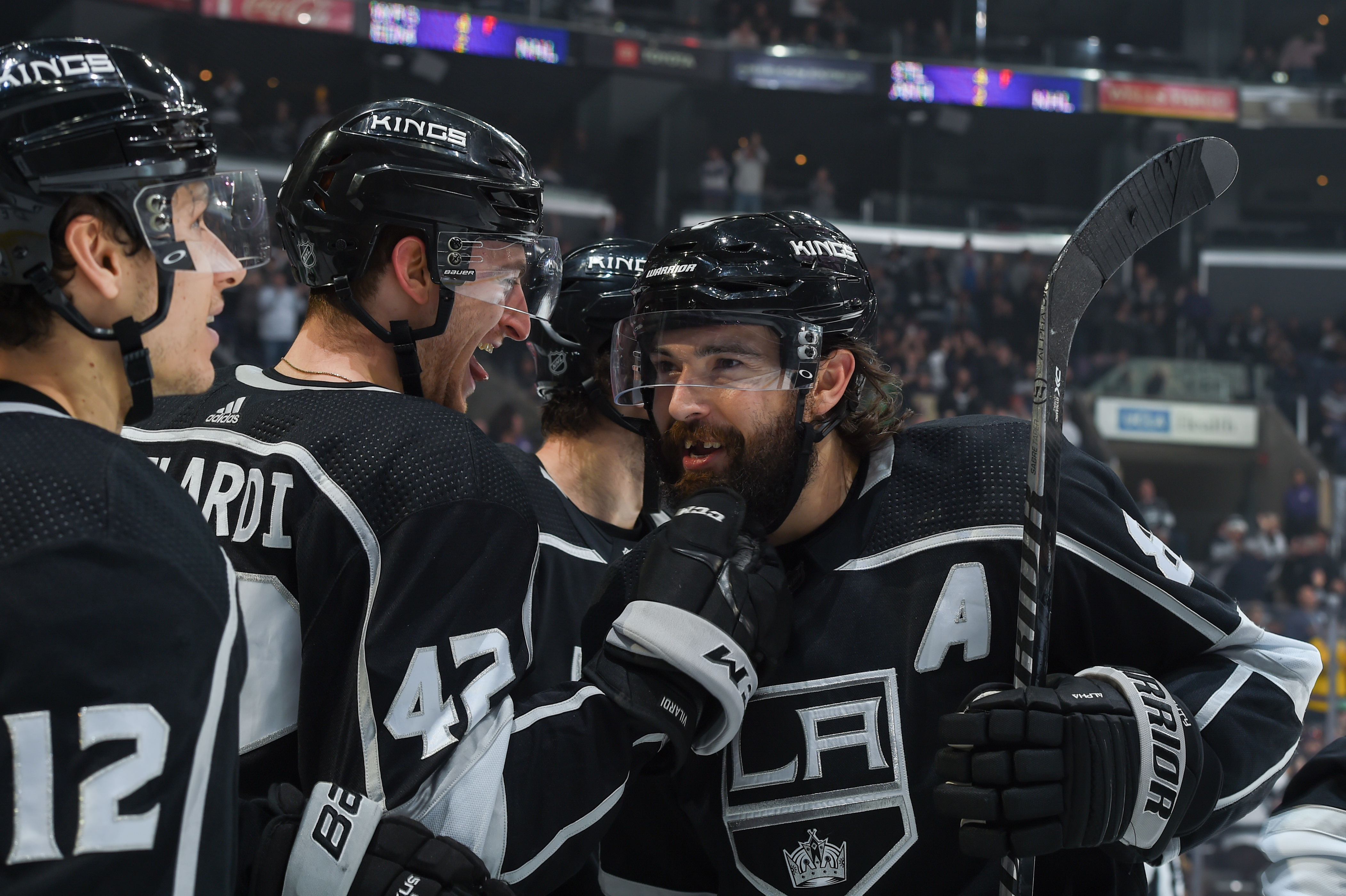 Gabriel Vilardi #42 of the Los Angeles Kings and Drew Doughty #8 celebrate during the third period against the Ottawa Senators at STAPLES Center on March 11, 2020 in Los Angeles, California.