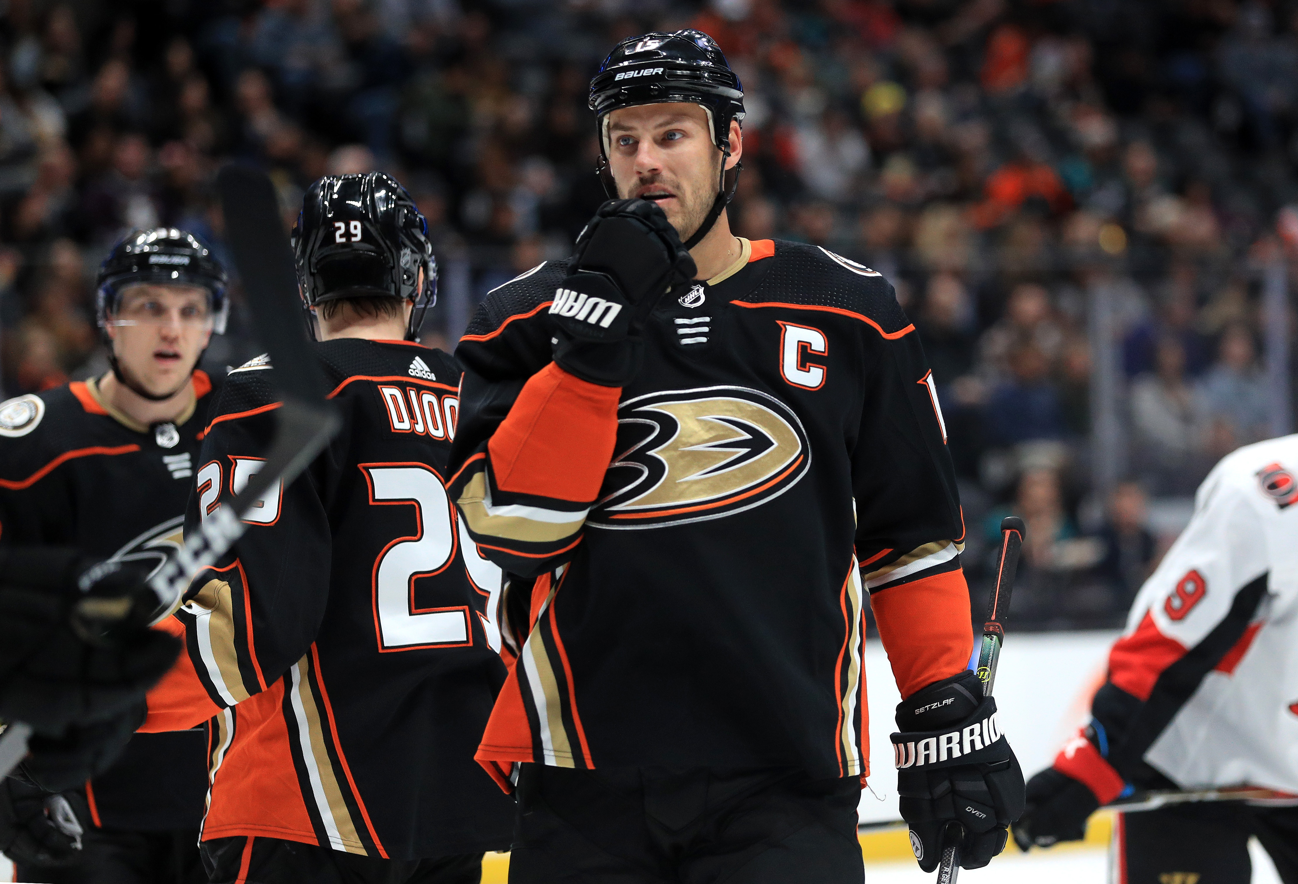 Ryan Getzlaf #15 of the Anaheim Ducks looks on during the first period of a game against the Ottawa Senators at Honda Center on March 10, 2020 in Anaheim, California.