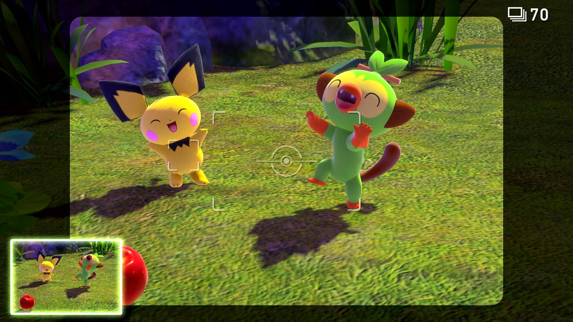 Pichu and Grookey dance in a screenshot from New Pokémon Snap