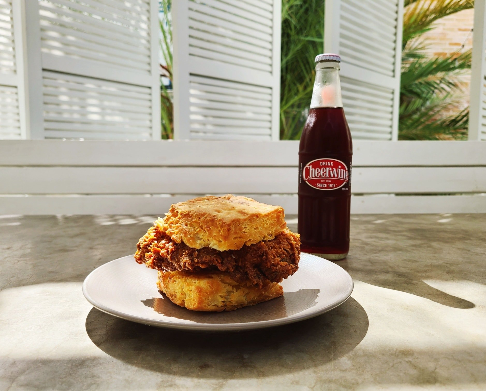 The fried chicken biscuit sandwich from Little Ola's