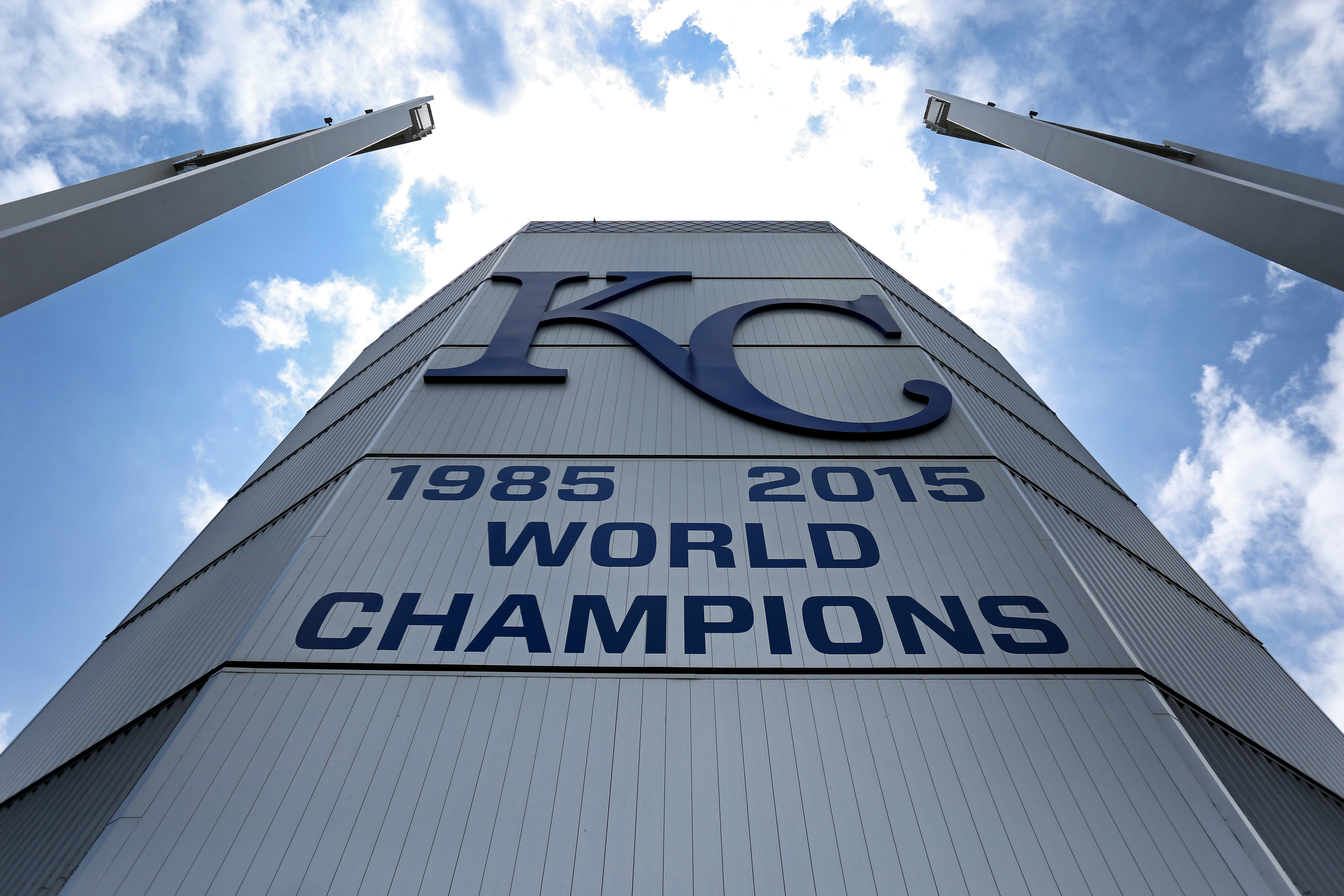 A view of the back of the video board that highlights the Kansas City Royals World Series victories during an MLB game between the New York Yankees and Kansas City Royals on May 25, 2019 at Kauffman Stadium in Kansas City, MO.