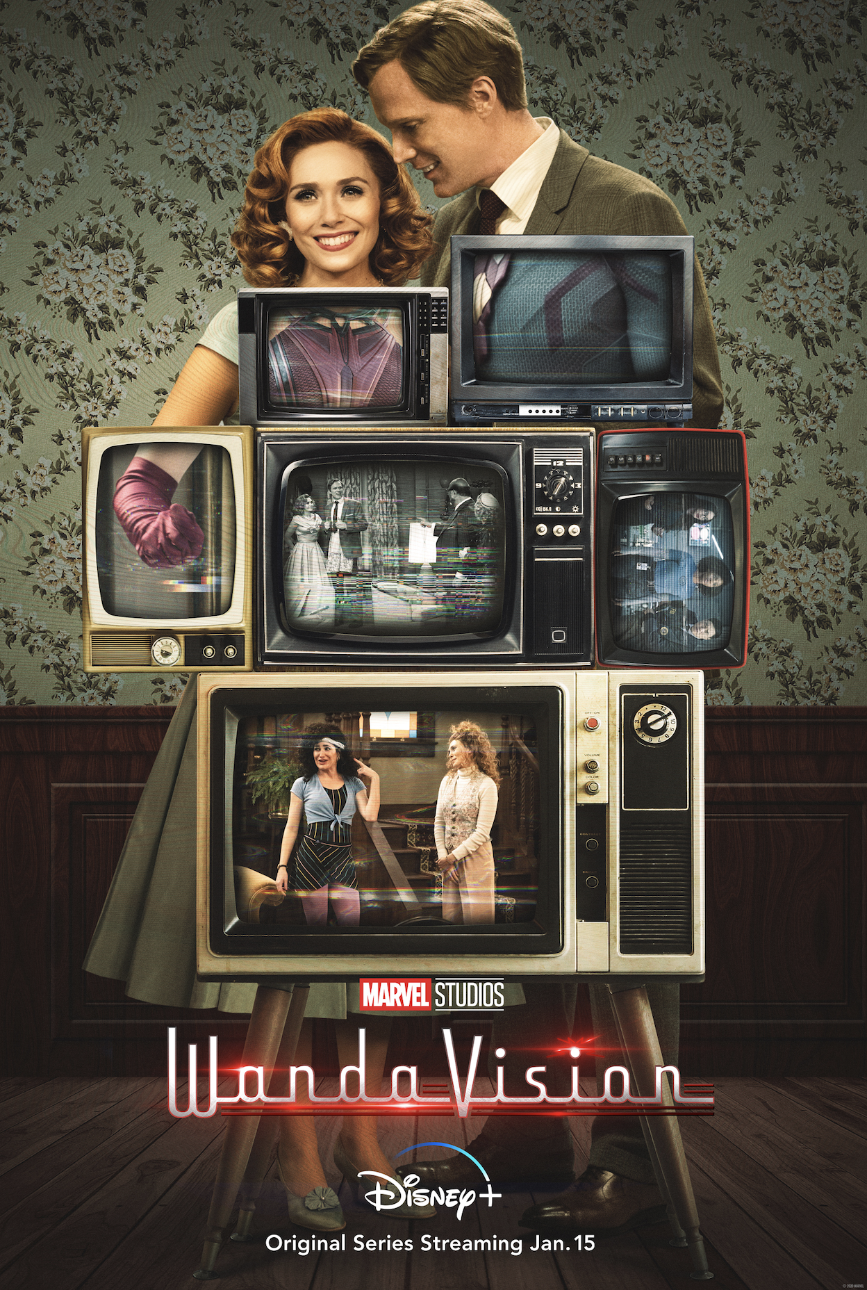 """Marvel Studios presents """"WandaVision,"""" a blend of classic television and the Marvel Cinematic Universe in which Wanda Maximoff (Elizabeth Olsen) and Vision (Paul Bettany) – two super-powered beings living idealized suburban lives – begin to suspect that everything is not as it seems. The new series is directed by Matt Shakman; Jac Schaeffer is head writer."""