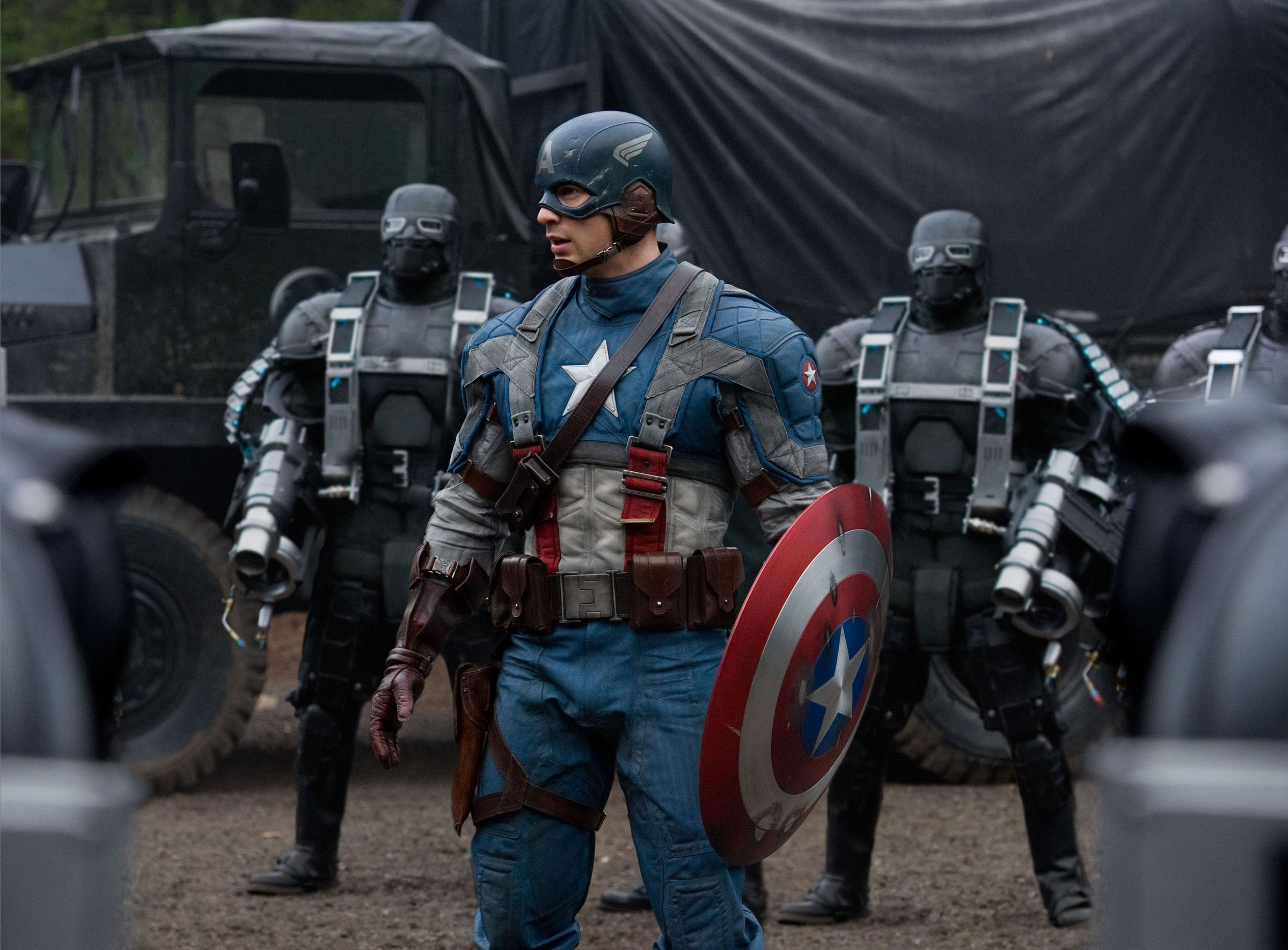 Captain America (Chris Evans, center), surrounded by HYDRA Soldiers in CAPTAIN AMERICA: THE FIRST AVENGER, from Paramount Pictures and Marvel Entertainment.