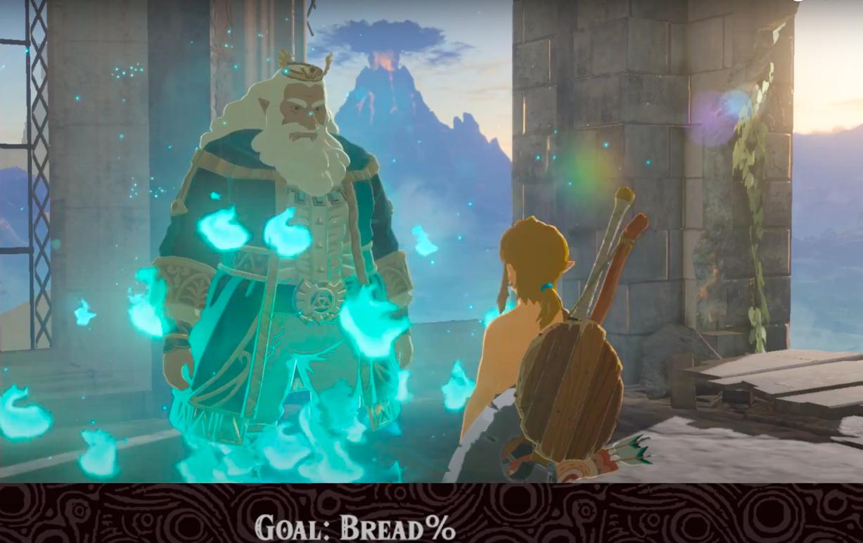 Link speaks to the King of Hyrule in BOTW.