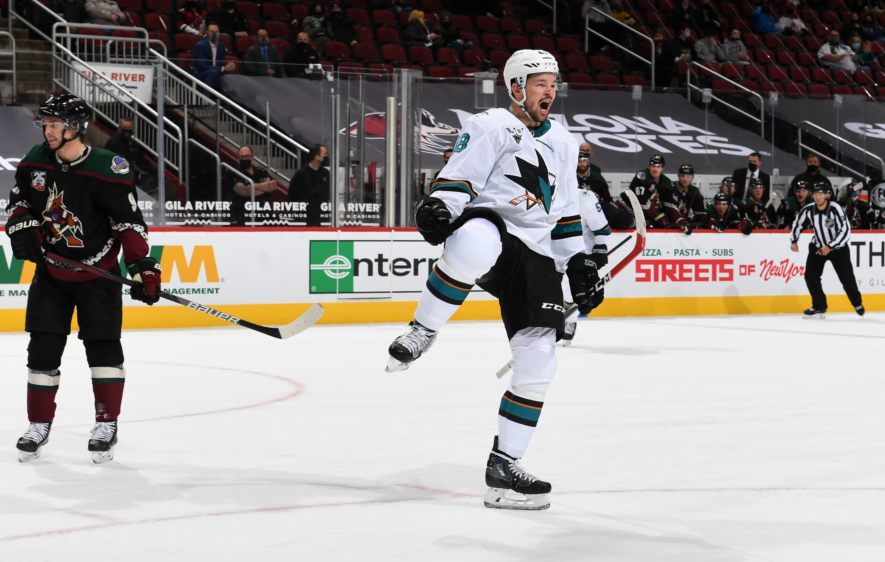 Tomas Hertl #48 of the San Jose Sharks celebrates after scoring his second goal against the Arizona Coyotes during the first period of the NHL hockey game at Gila River Arena on January 14, 2021 in Glendale, Arizona.