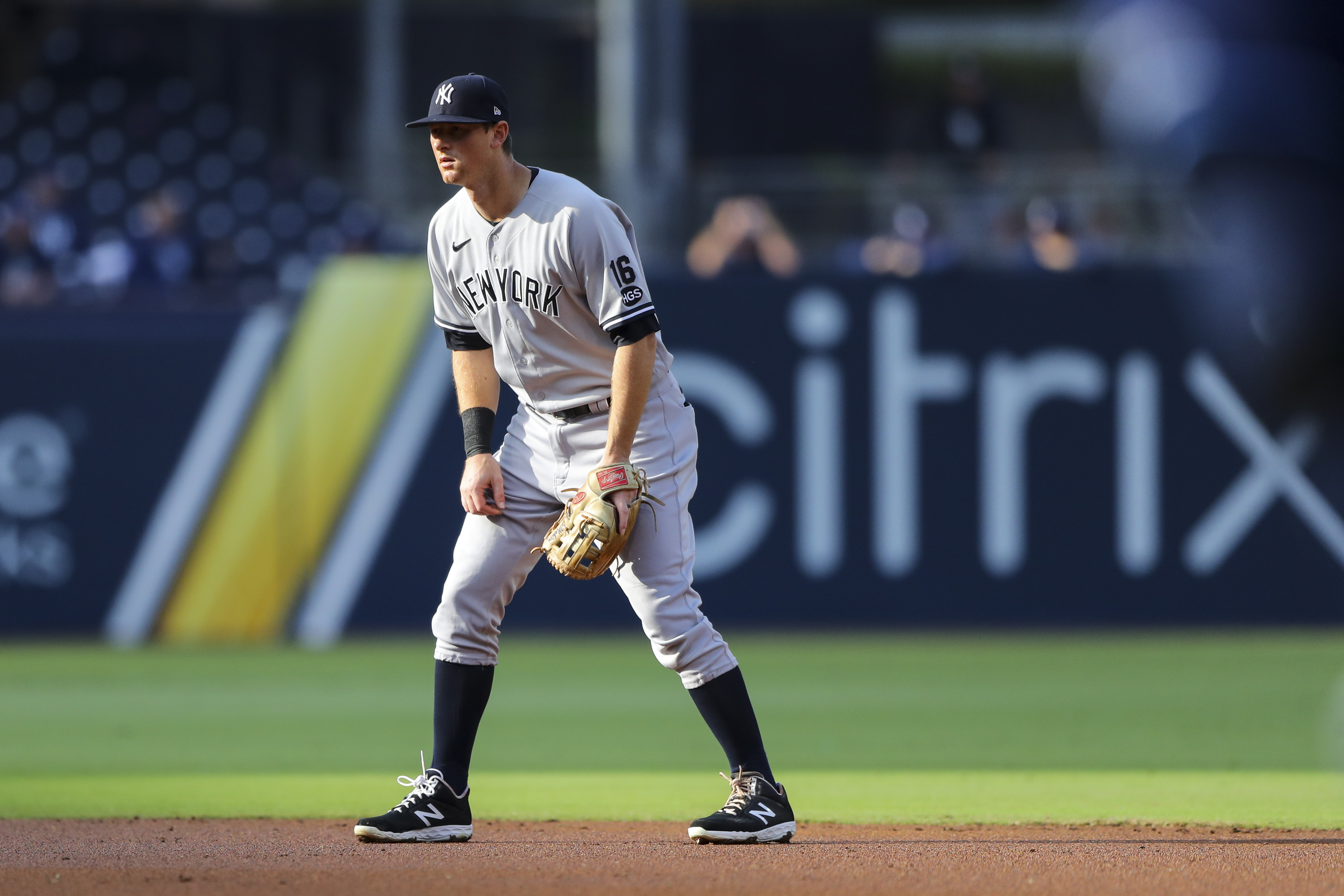 DJ LeMahieu #26 of the New York Yankees stands ready at second base during Game 5 of the ALDS between the New York Yankees and the Tampa Bay Rays at Petco Park on Friday, October 9, 2020 in San Diego, California.