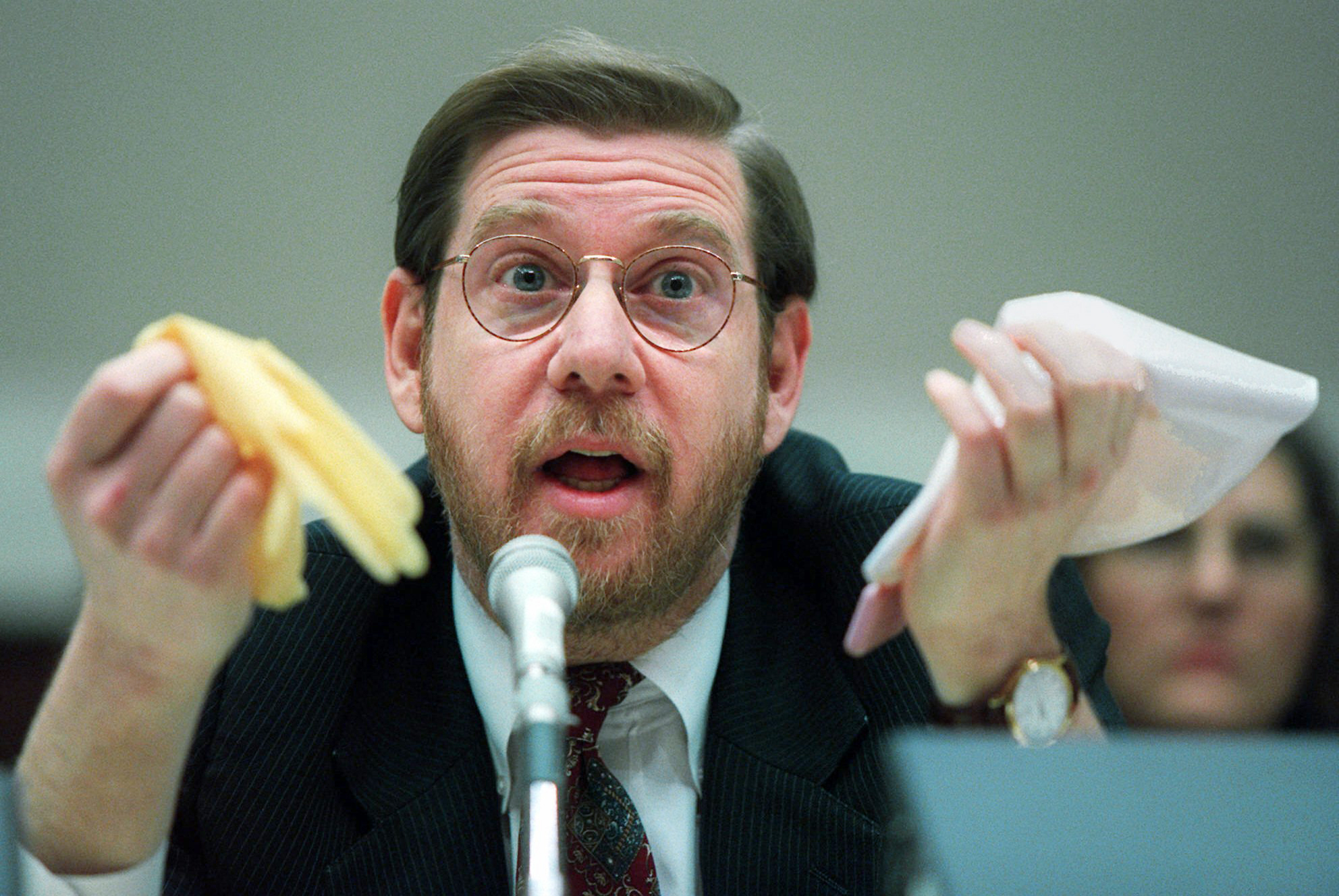This Nov. 15, 1995 file photo shows then Food and Drug Administration (FDA) Administrator David Kessler testifying on Capitol Hill in Washington.