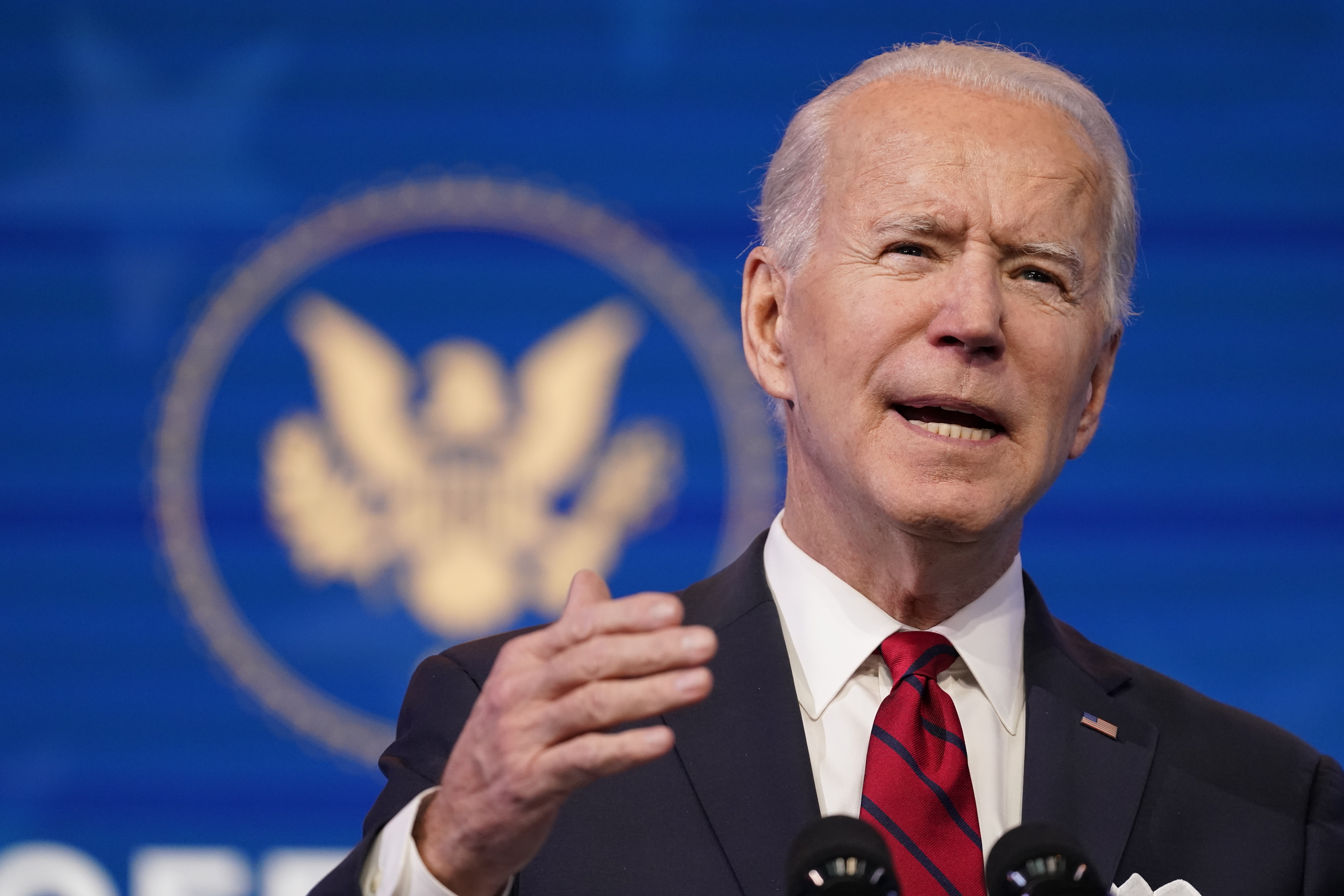 President-elect Joe Biden speaks during an event at The Queen theater, Friday, Jan. 15, 2021, in Wilmington, Del.