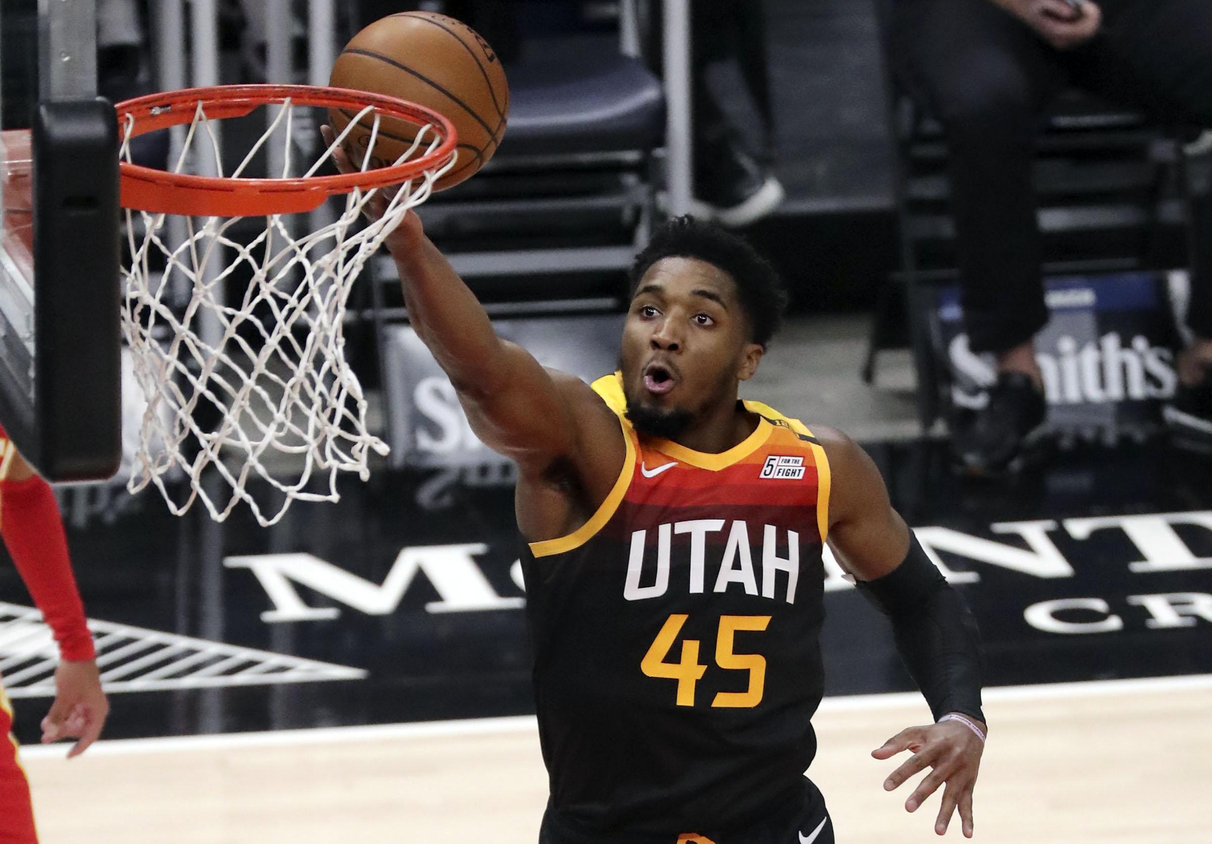 Utah Jazz guard Donovan Mitchell (45) shoots during an NBA game against the Atlanta Hawks at Vivint Smart Home Arena in Salt Lake City on Friday, Jan. 15, 2021.