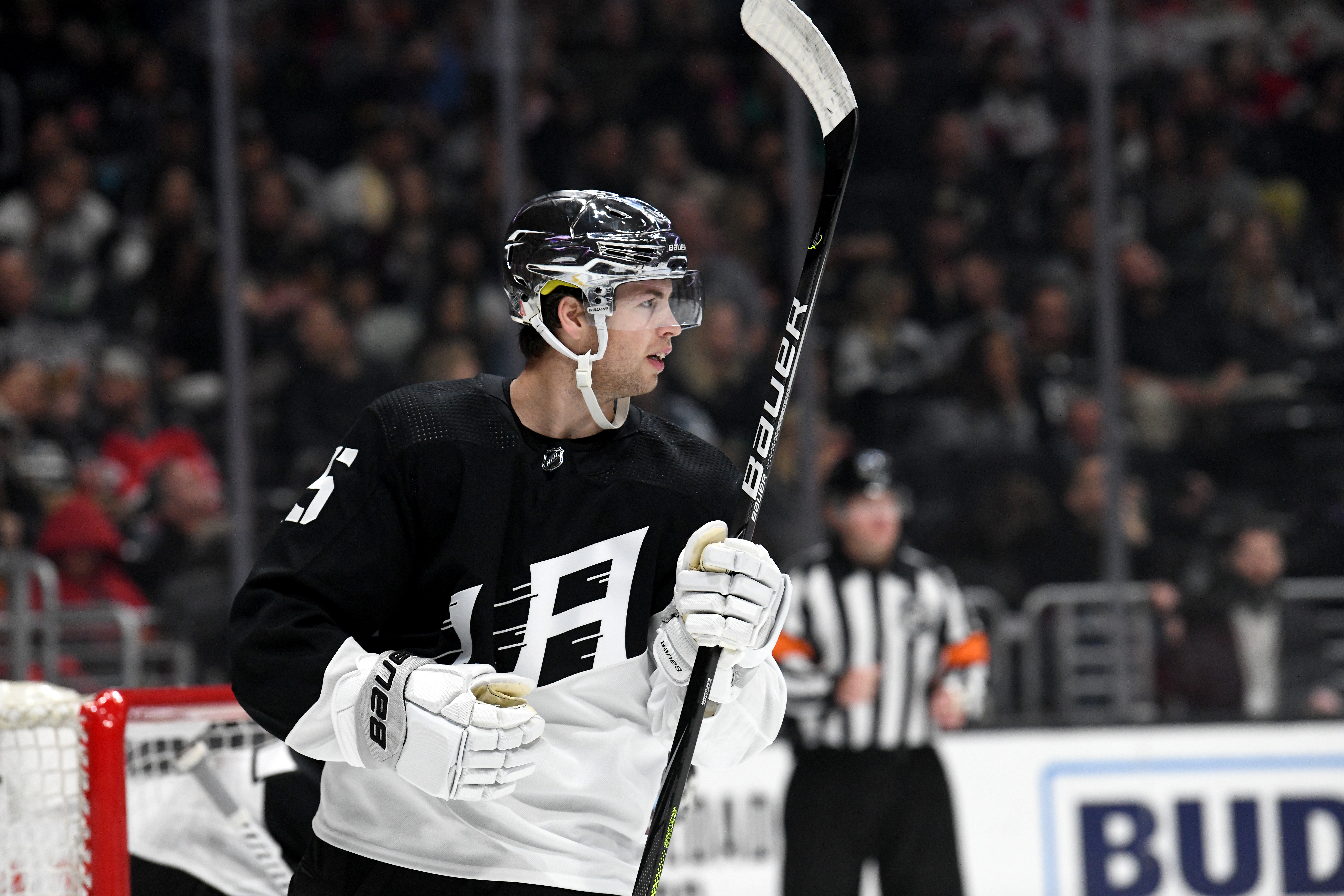 Los Angeles Kings Defenceman Ben Hutton (15) during a stoppage in play on February 29, 2020, at the Staples Center in Los Angeles, CA.