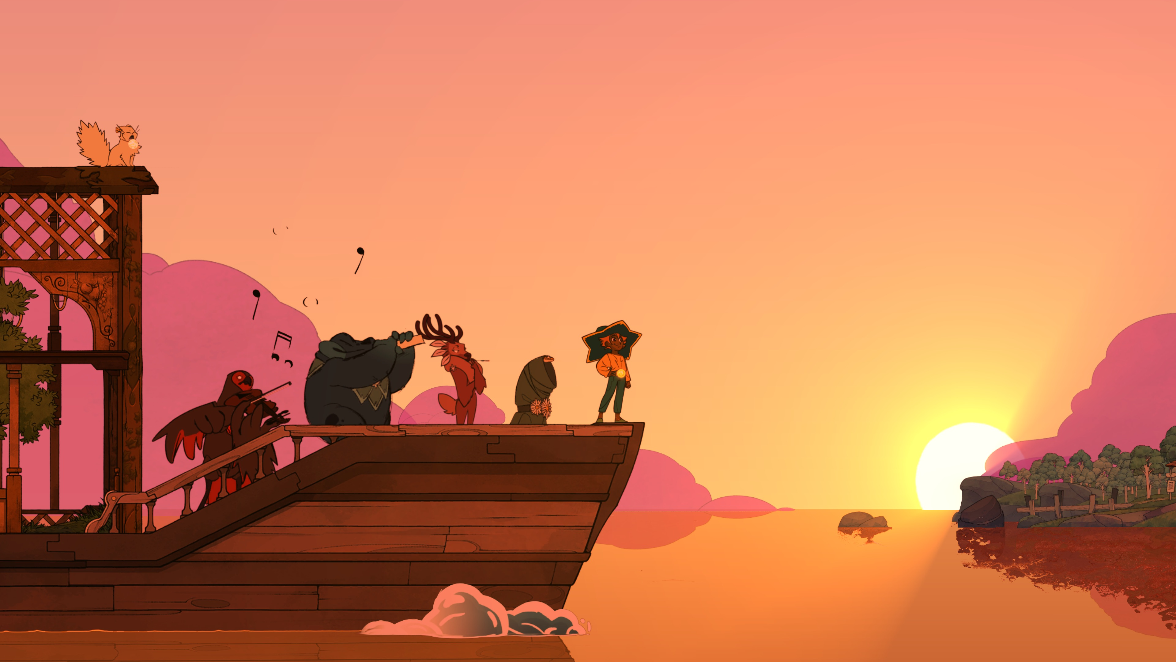 animated characters on a boat look at the sun setting in the distance in Spiritfarer