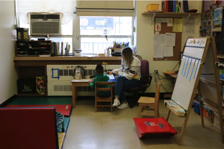 A student with disabilities at HeartShare Taranto preschool in Brooklyn receives occupational therapy. Early Intervention services are designed to help students succeed once they start school, but fewer students have received services during the pandemic.