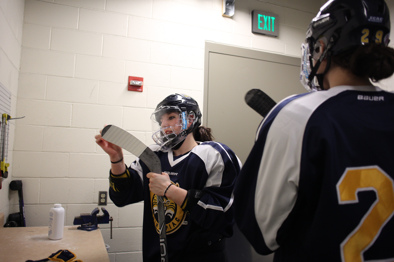 Quinnipiac University Women's College Ice Hockey team training at the TD Bank Sports Center at Quinn