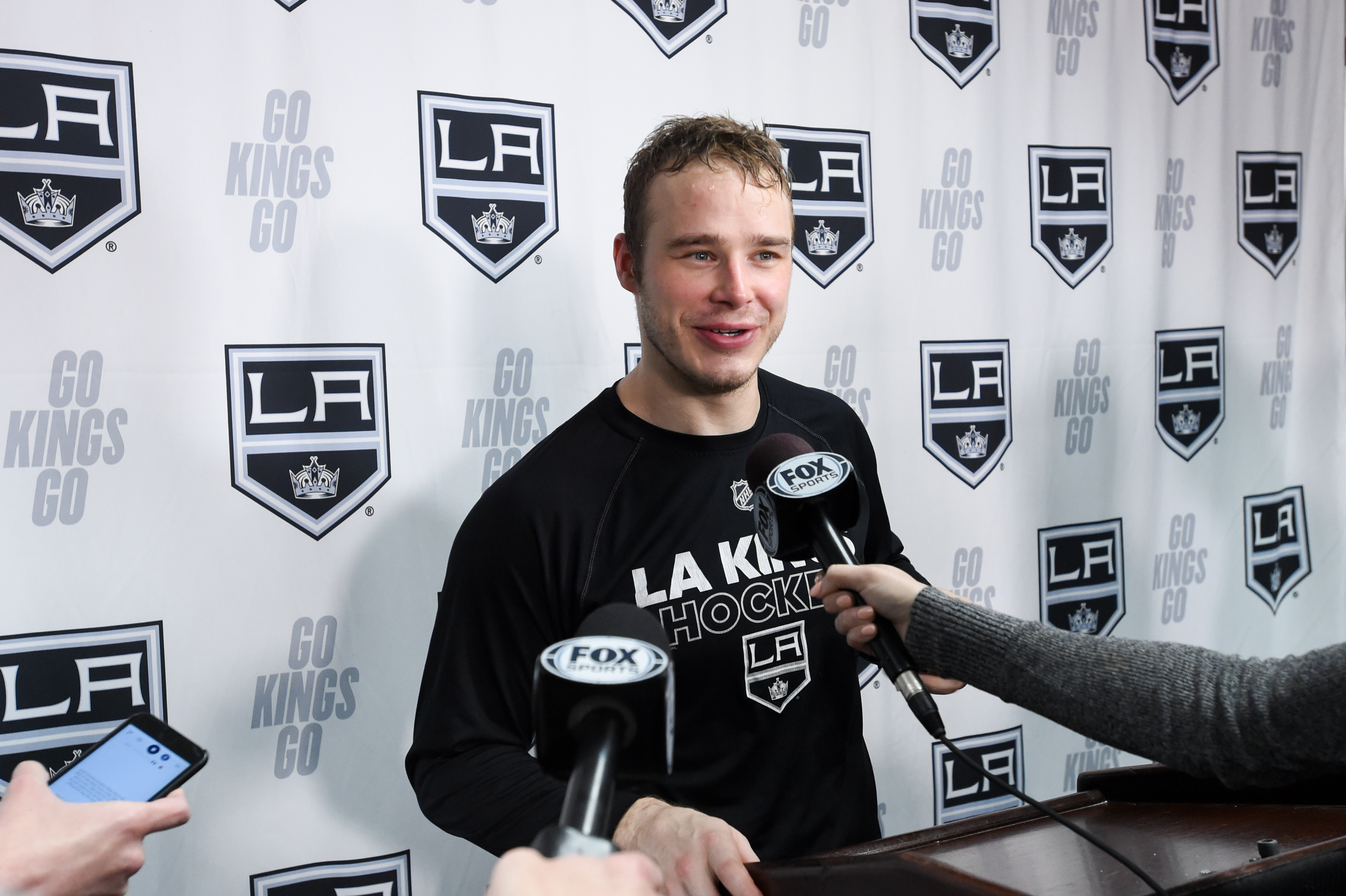 Dustin Brown #23 of the Los Angeles Kings speaks to the media after his 3 goal game victory against the Minnesota Wild at STAPLES Center on March 7, 2020 in Los Angeles, California.