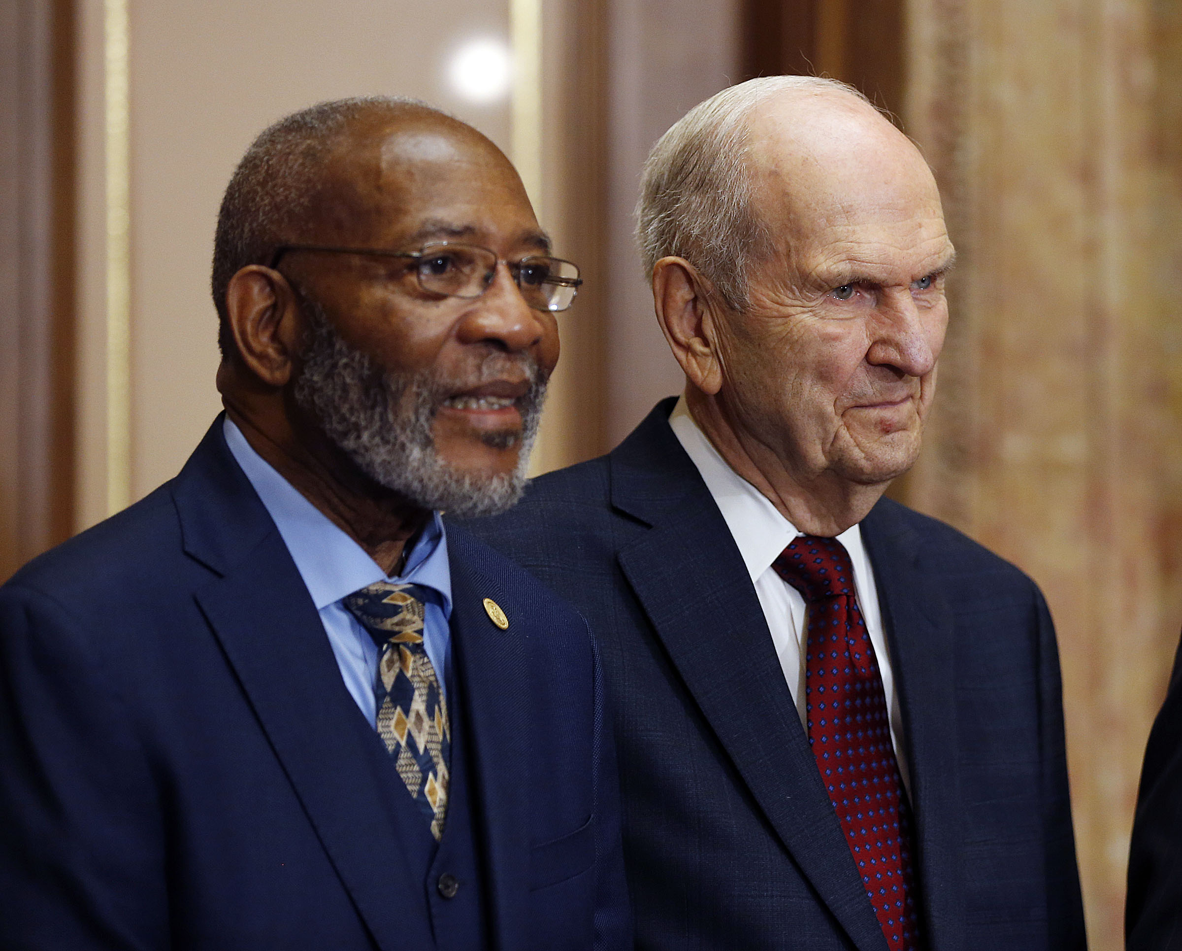 FILE - President Russell M. Nelson of The Church of Jesus Christ of Latter-day Saints, right, stands with the Rev. Amos C. Brown during a press conference in Salt Lake City on Thursday, May 17, 2018.