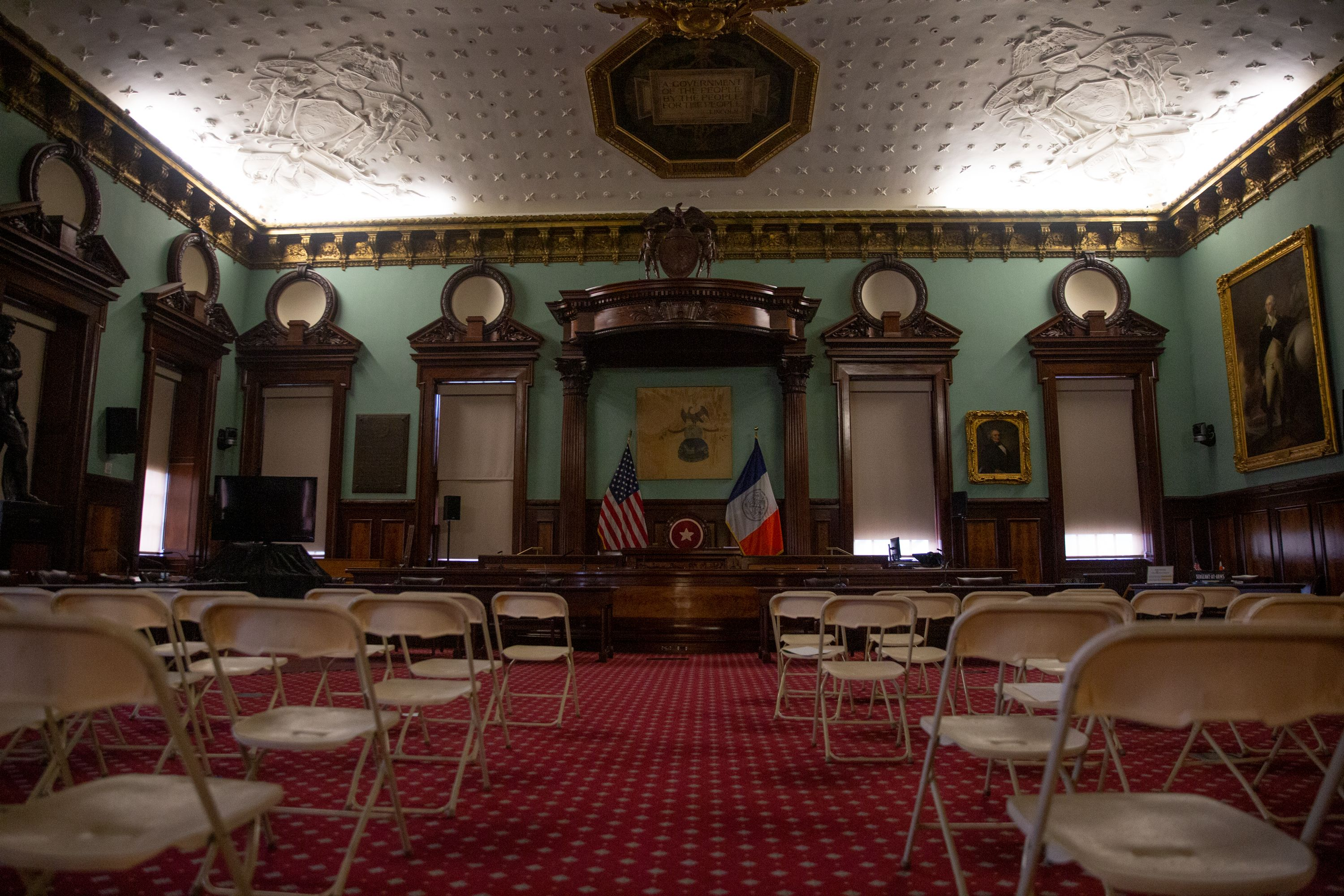 The City Council chambers were empty while large gathering places were closed to prevent the spread of the coronavirus.