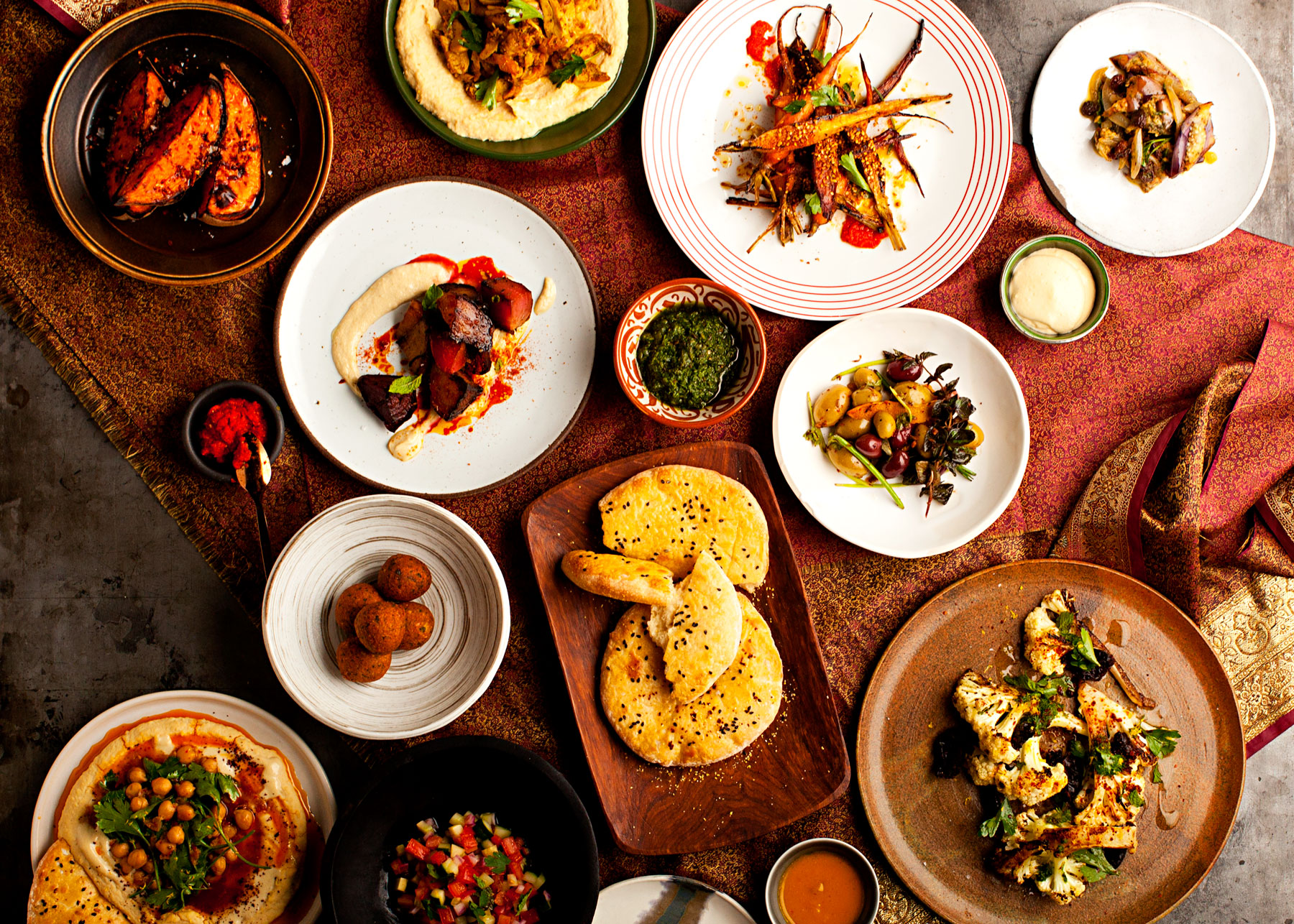 A selection of Israeli small plate dishes created at Shai, the new restaurant concept by Franklin Becker