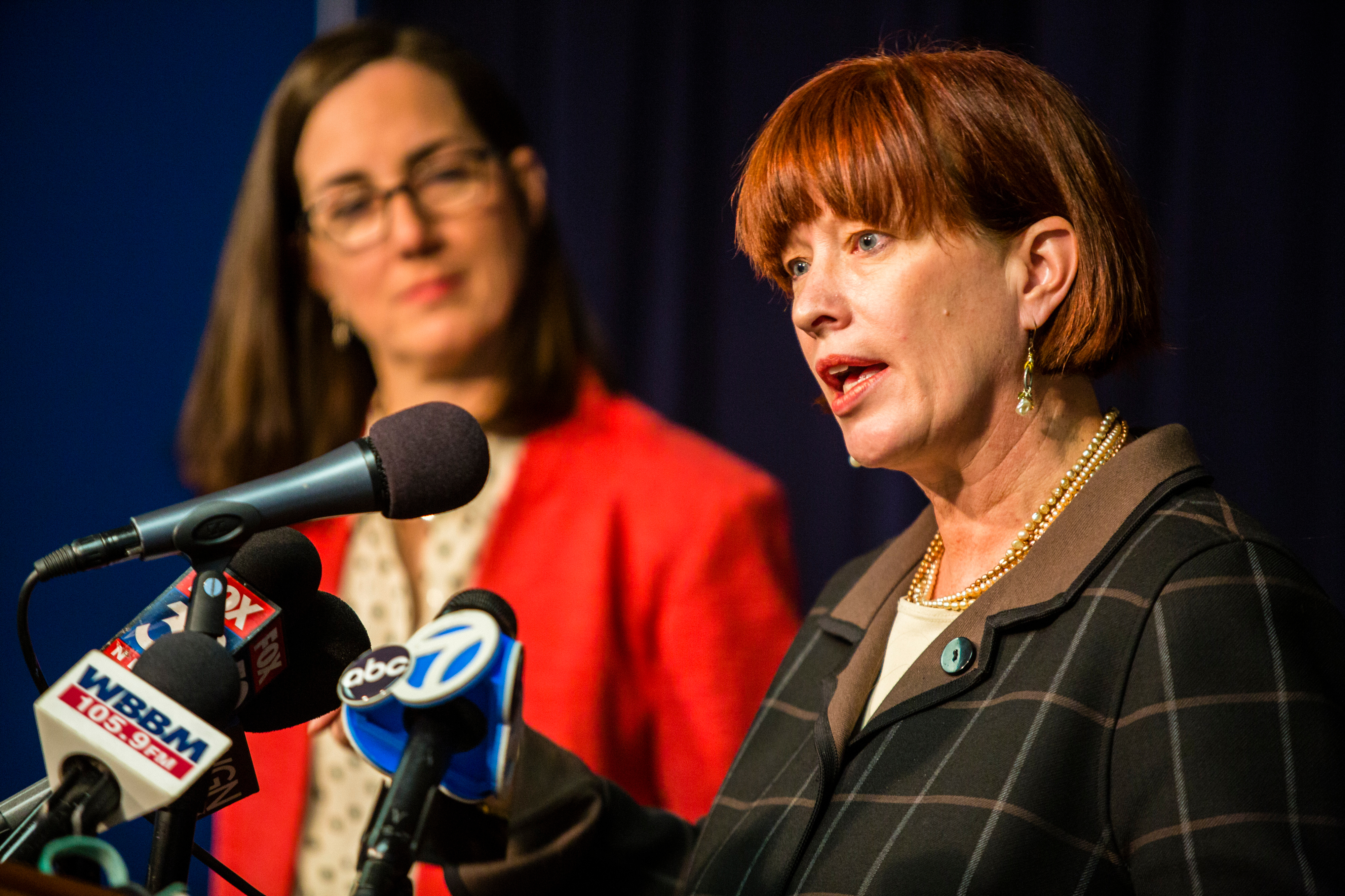 State Sen. Heather Steans, D-Chicago, right; with state Rep. Kelly Cassidy, D-Chicago, at a news conference in 2017.