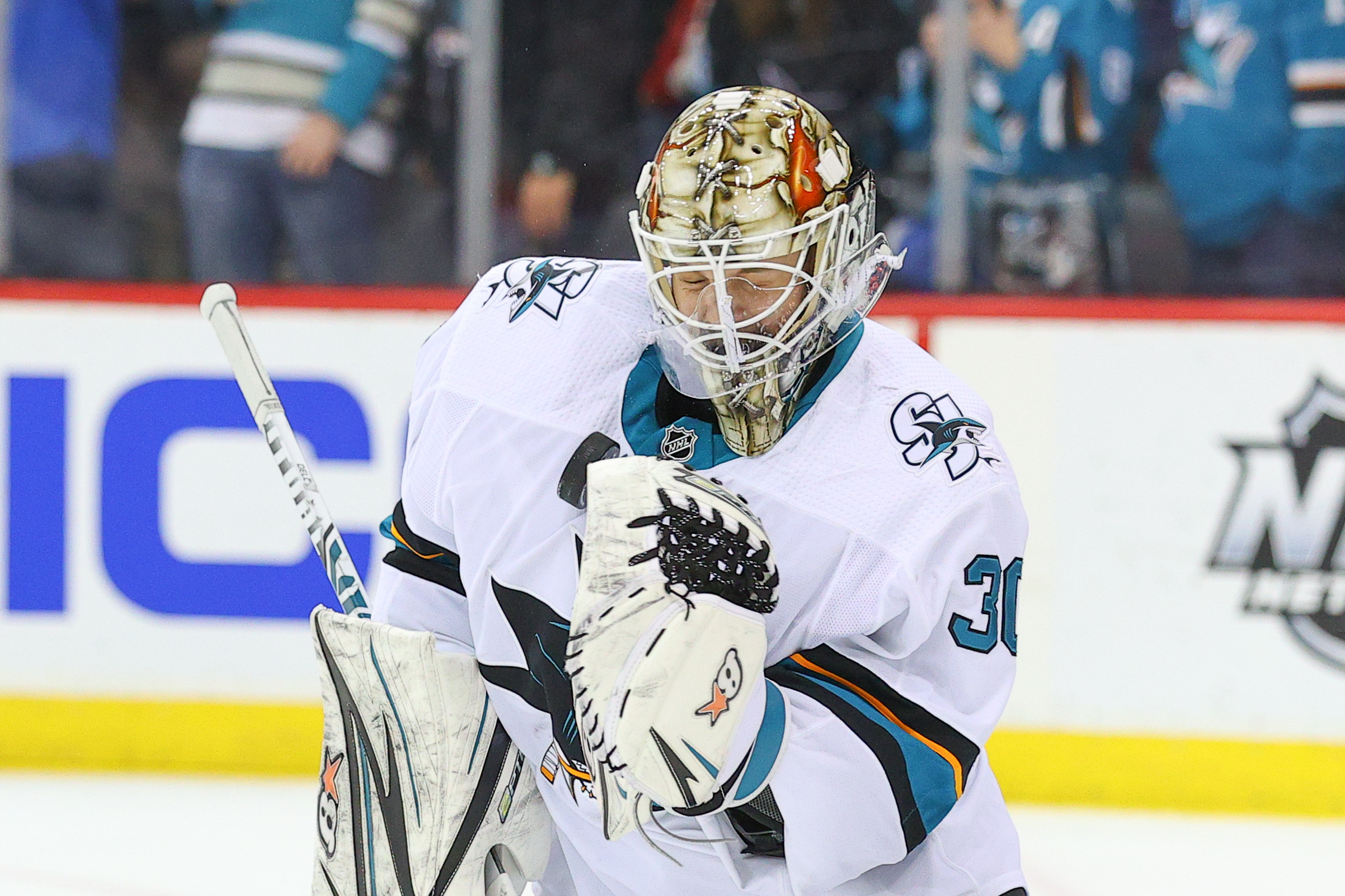 San Jose Sharks goaltender Aaron Dell (30) warms up prior to the National Hockey League game between the New Jersey Devils and the San Jose Sharks on February 20, 2020 at the Prudential Center in Newark, NJ.