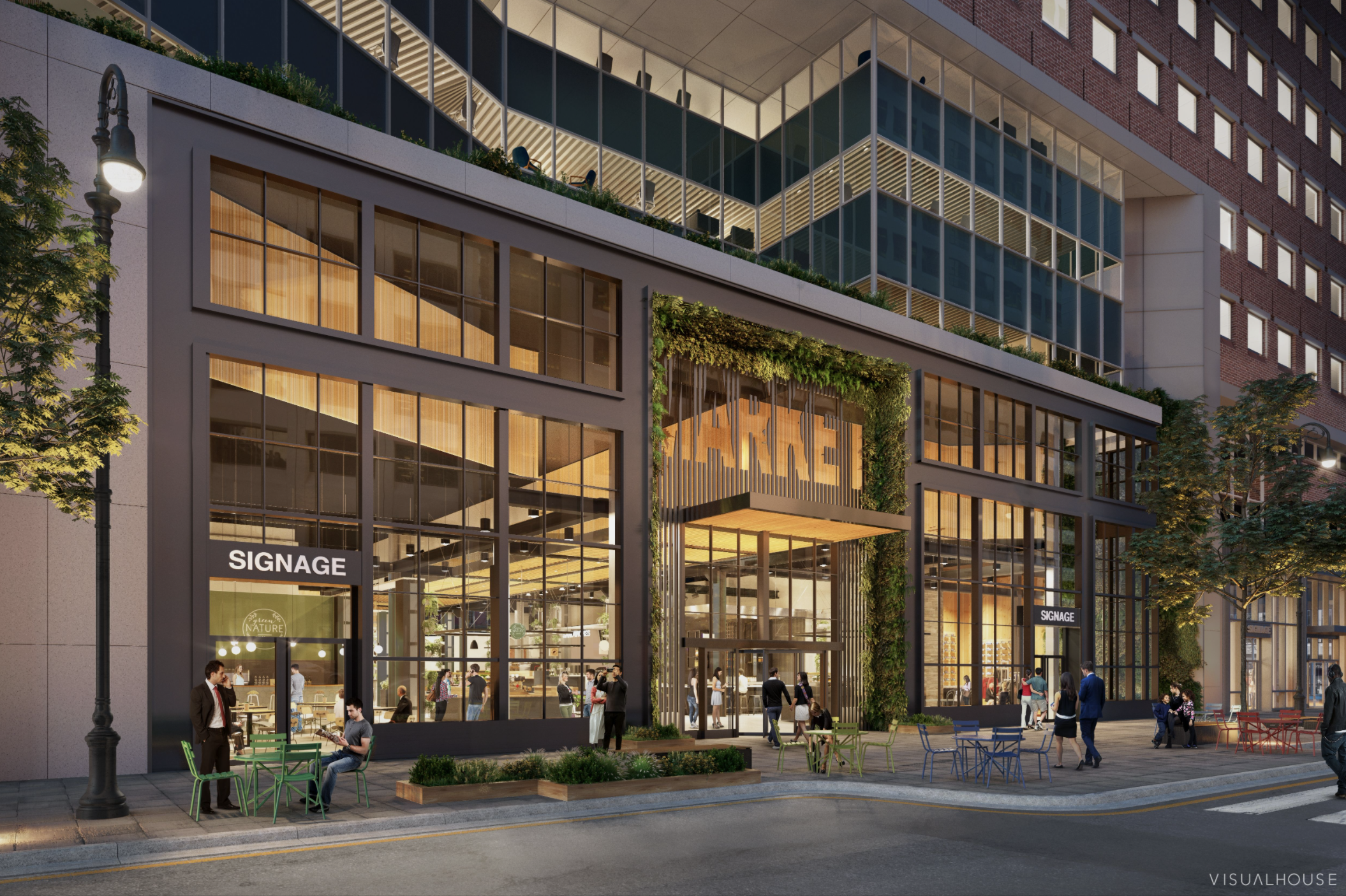 The exterior of a new food hall in the financial district shown in a rendering