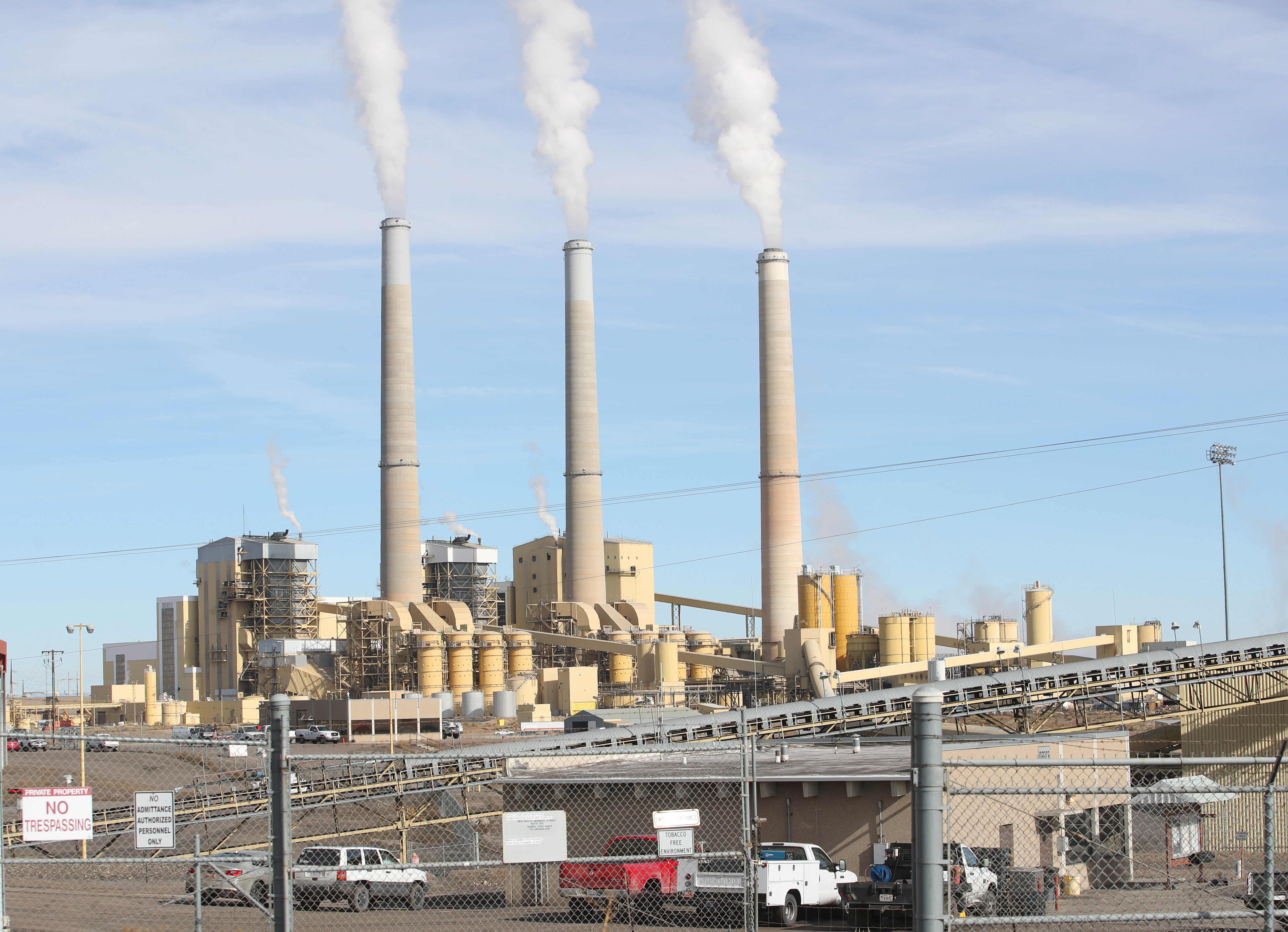 PacifiCorp's Hunter coal fired power plant releases steam as it burns coal outside of Castle Dale, Utah on November 14, 2019.