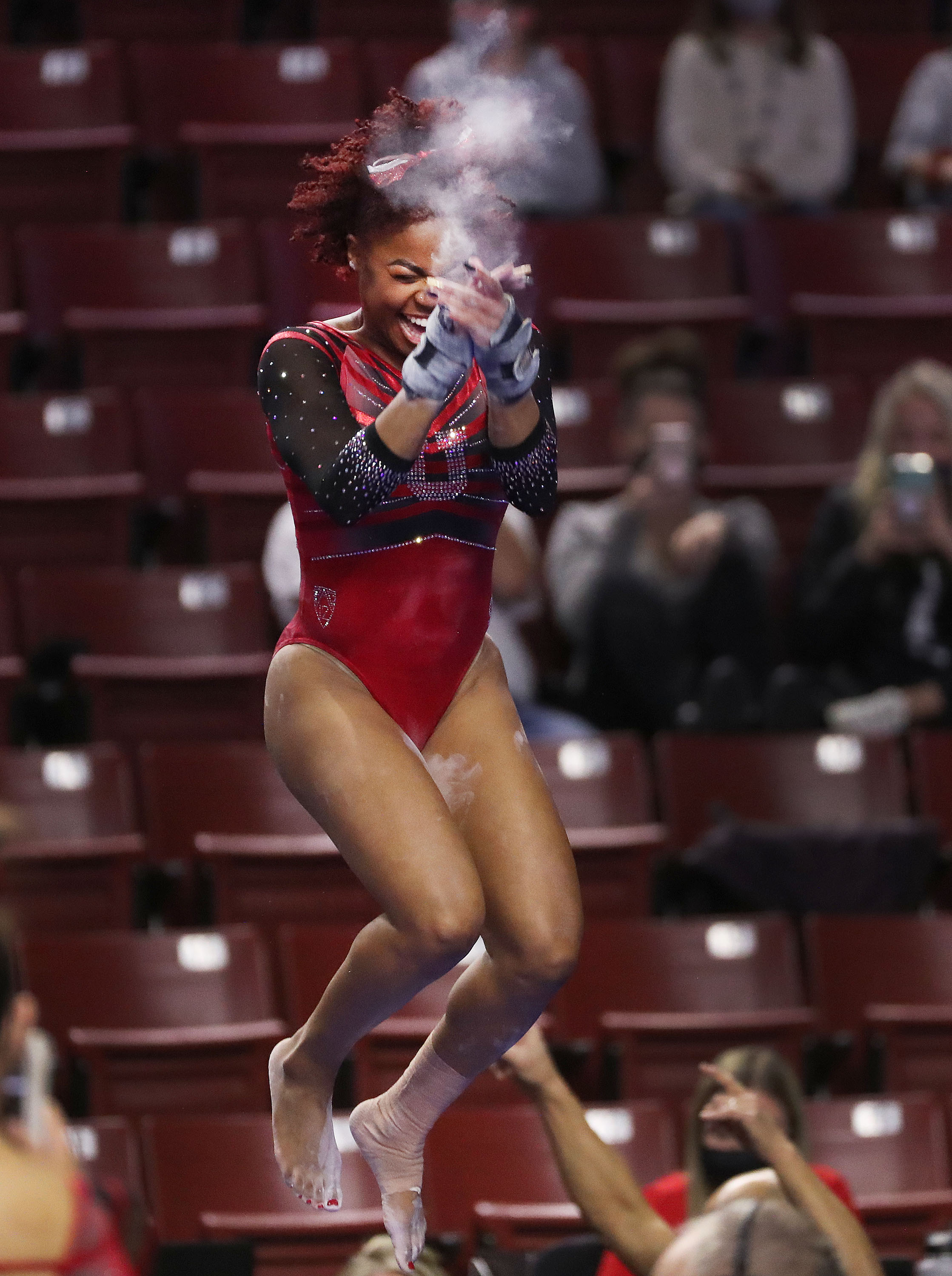 Utah's Cammy Hall reacts after competing in the vault during the Rio Tinto Best of Utah NCAA gymnastics meet at the Maverik Center in West Valley City on Saturday, Jan. 9, 2021.
