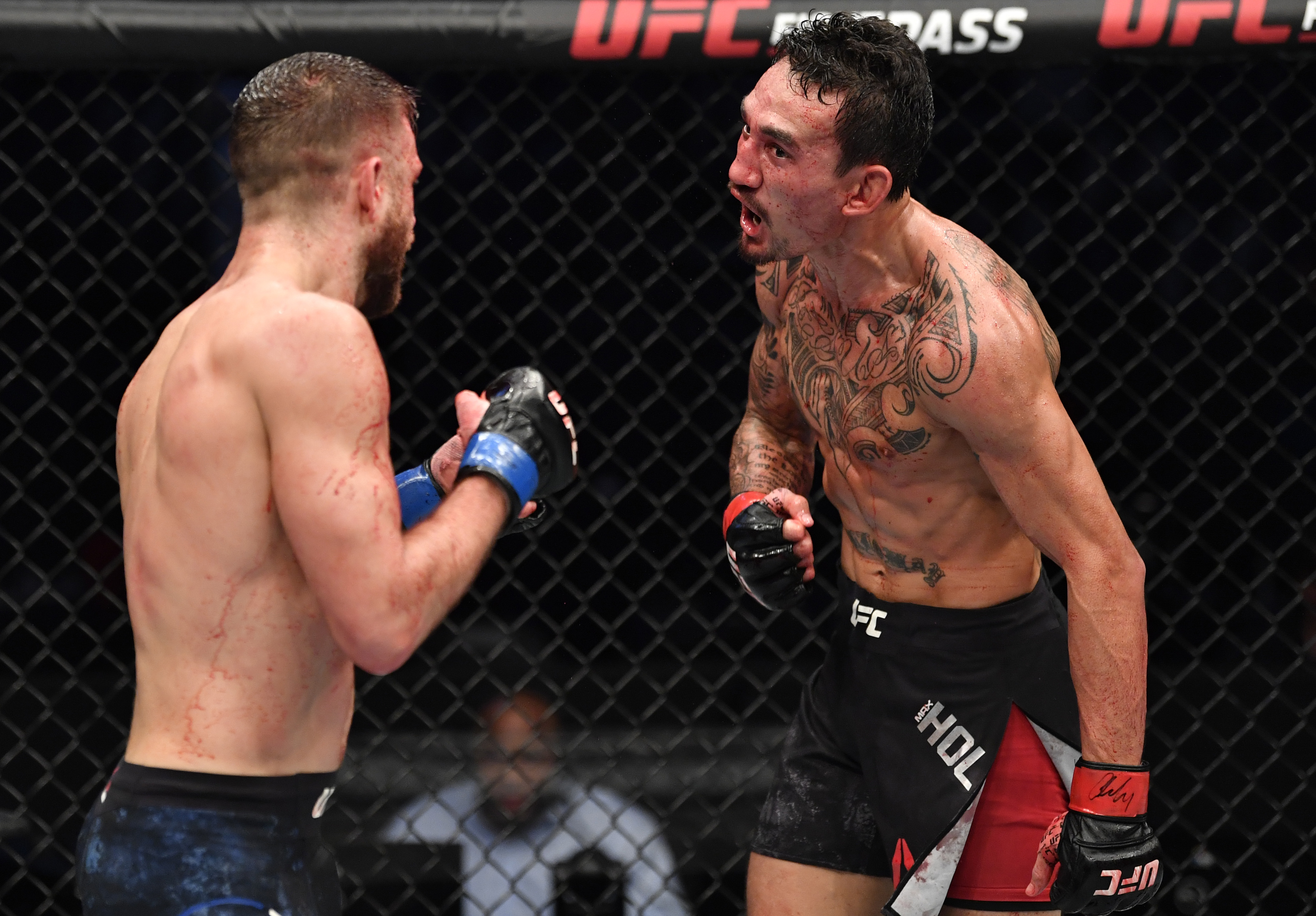 Max Holloway enters a flow state during his fight against Calvin Kattar in January.