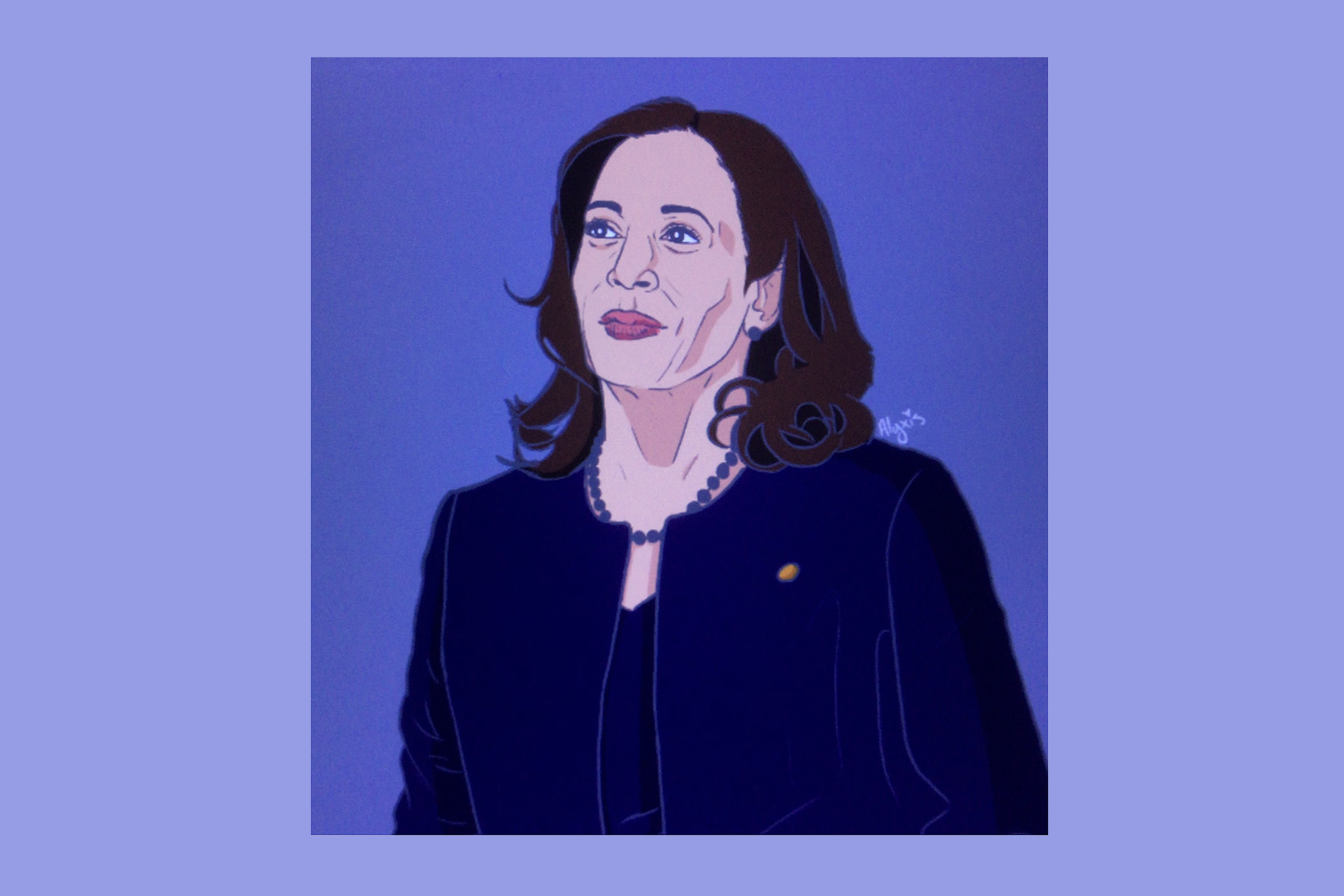 Illustration of Kamala Harris with a blue and purple background, by Alyxis Wilson.