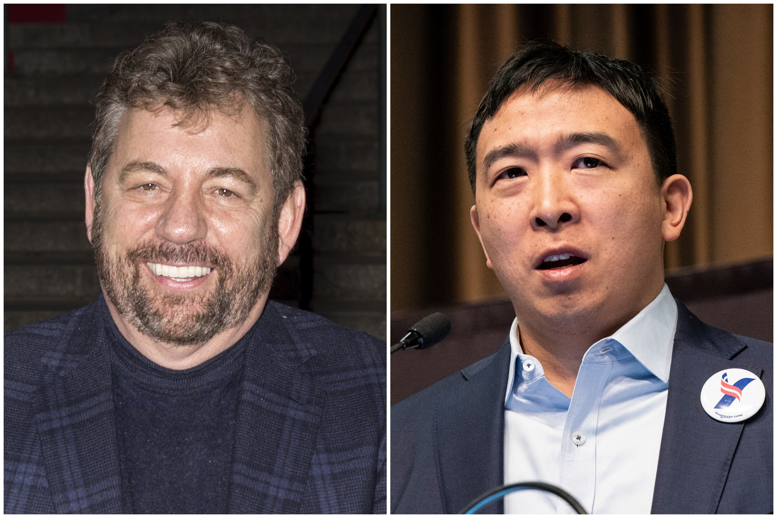 Knicks owner James Dolan and New York City mayoral candidate Andrew Yang.