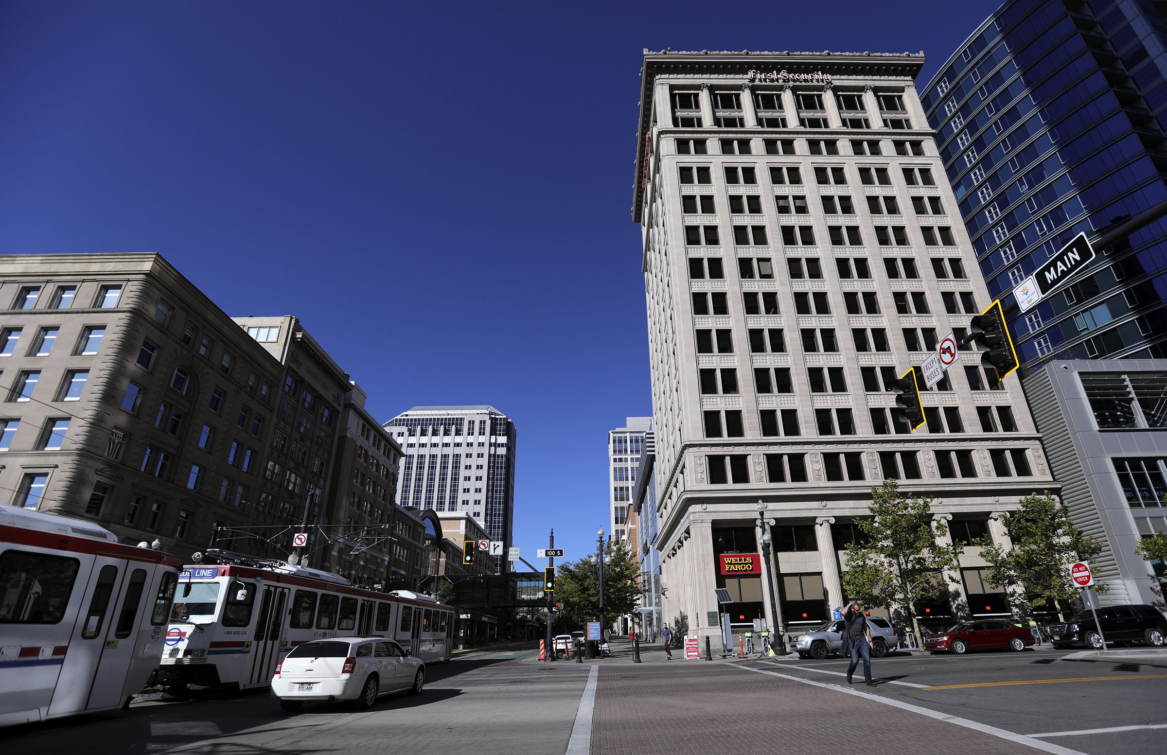 Main Street in downtown Salt Lake City is pictured on Monday, Oct. 12, 2020.