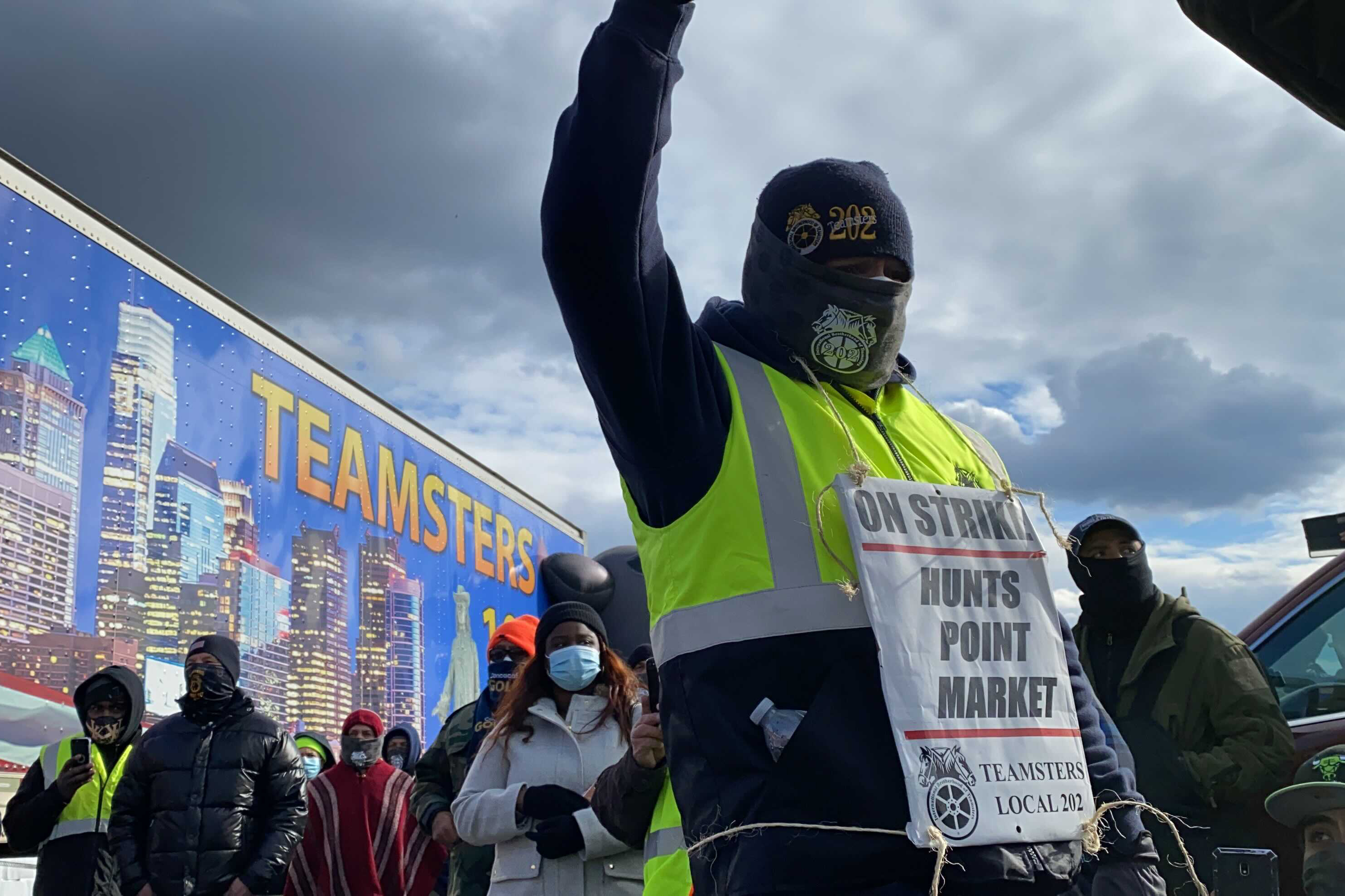 A Hunts Point Market worker takes part in a strike Tuesday morning, Jan. 19, 2021.