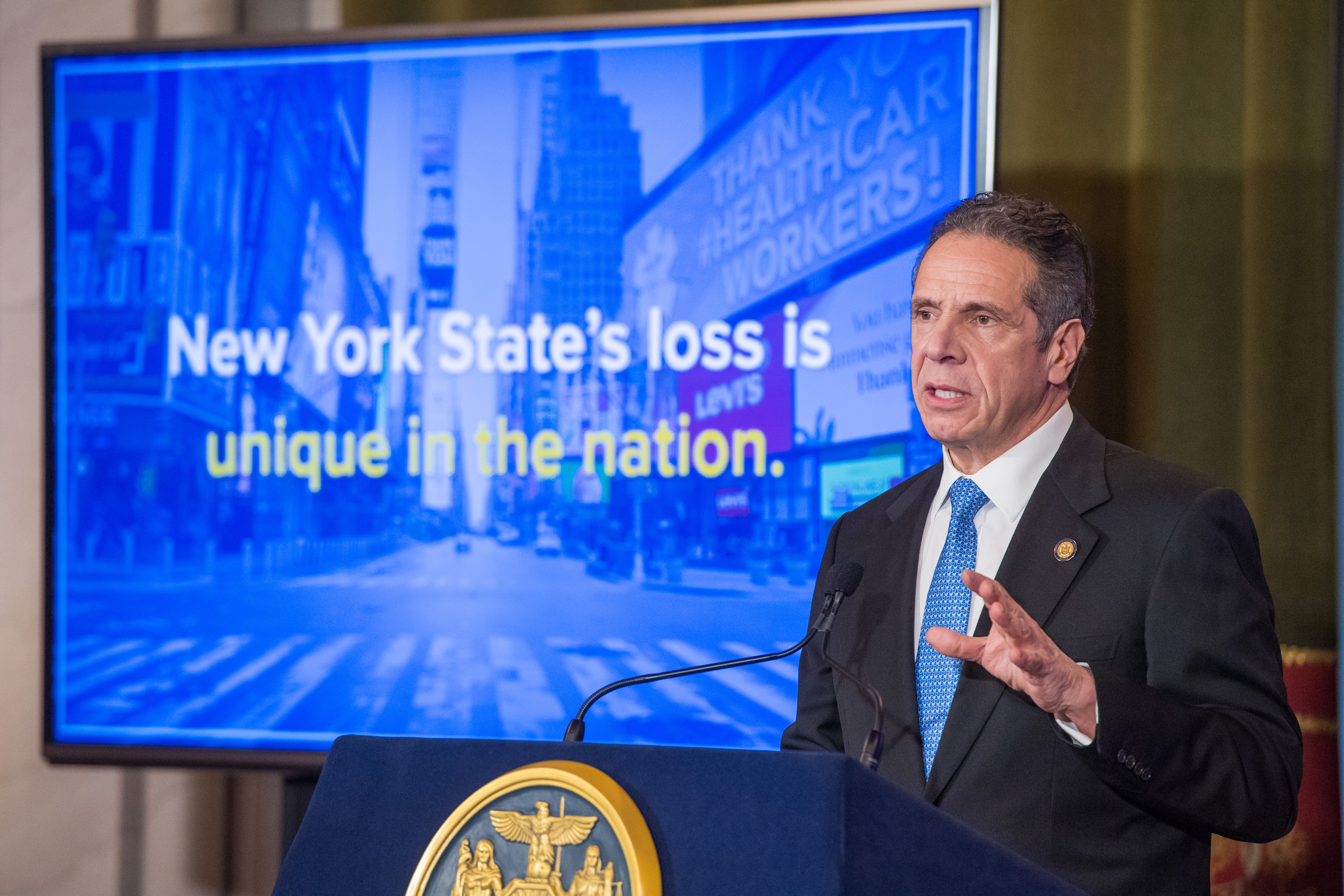 Governor Andrew Cuomo delivers his executive budget in Albany, Jan. 19, 2021.